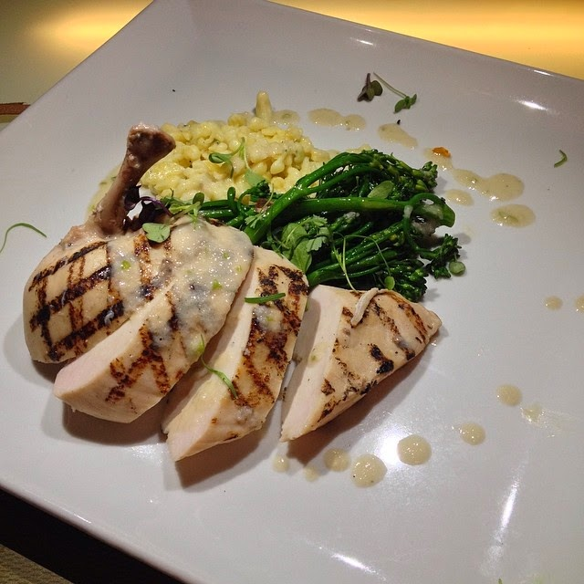 Sous-Vide Chicken Supreme  - lemon and roasted garlic spätzle, buttered broccolini, Granny Smith and blue cheese vinaigrette