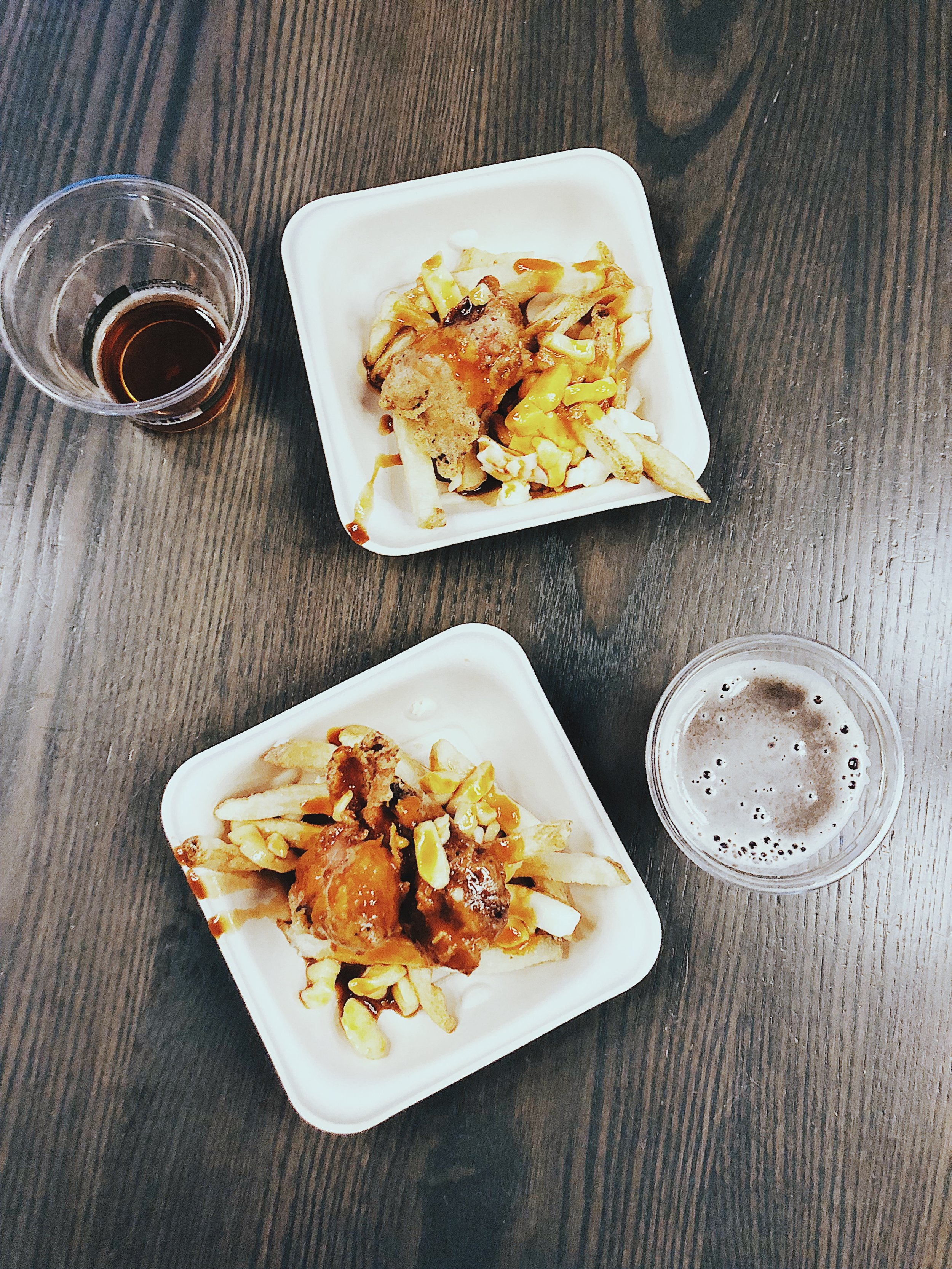 """""""If it ain't broke don't fix it"""" Poutine  -fried chicken, cheese curds, Tool Shed red Rage hot sauce, brown butter gravy"""