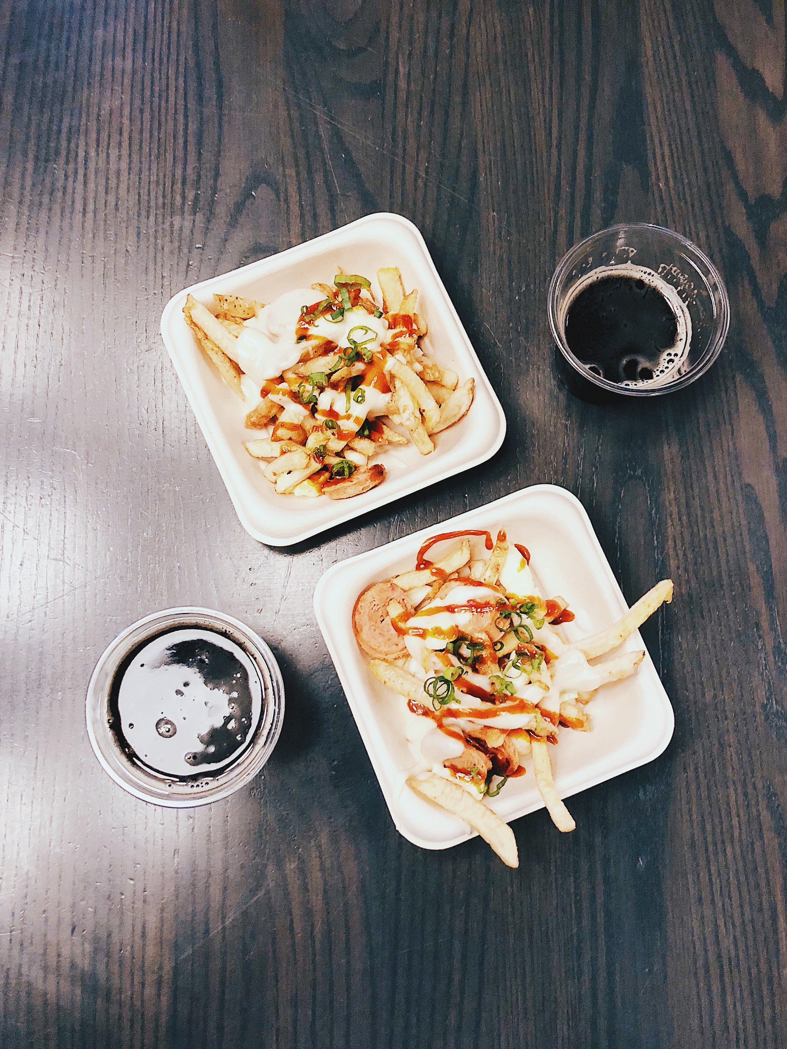 K-Pop Poutine  - twice cooked fries, Korean style chorizo, brie gravy,Brewsters Hawaiian Coconut Porter, gochujang ketchup
