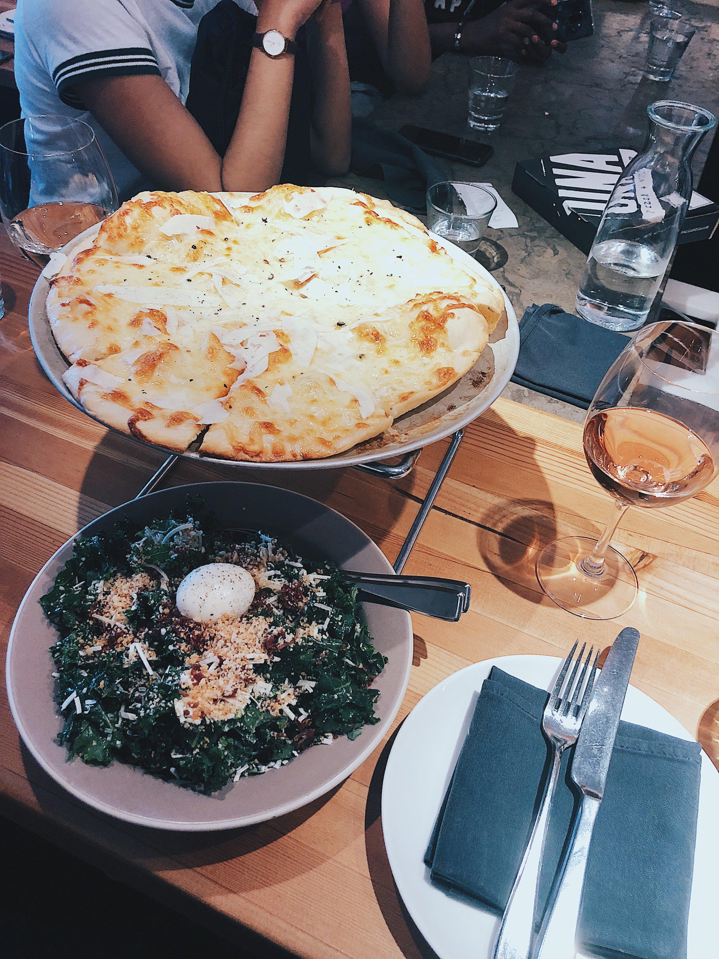4-Maggi Pizza —provolone piccante, friulano, or di latte mozzarell, pecorino romano, truffle oil, local urban honey