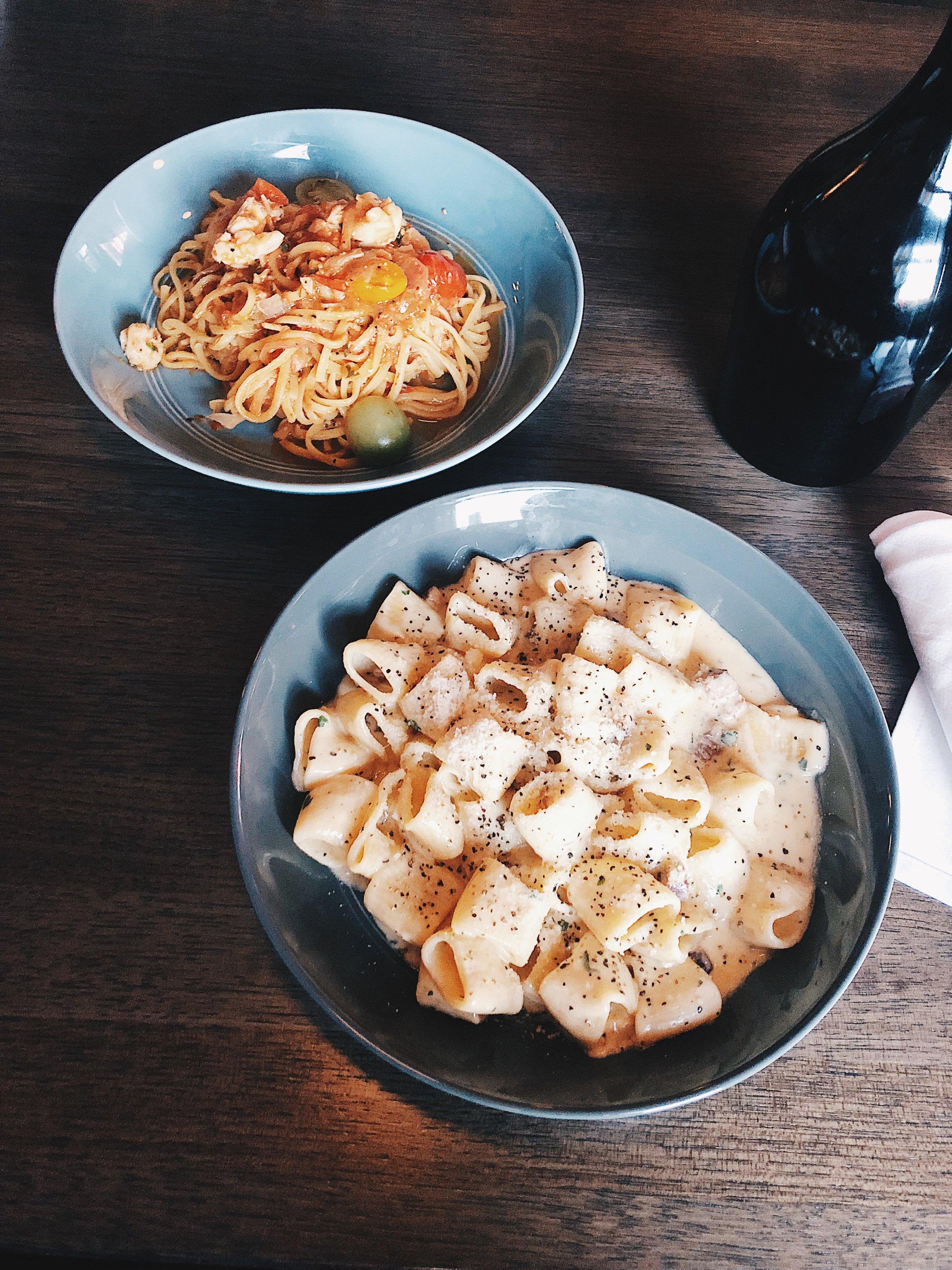 "Mezze Maniche — egg yolk ""carbonara"", bone marrow, Hayden Block smoked bacon, pecorino"