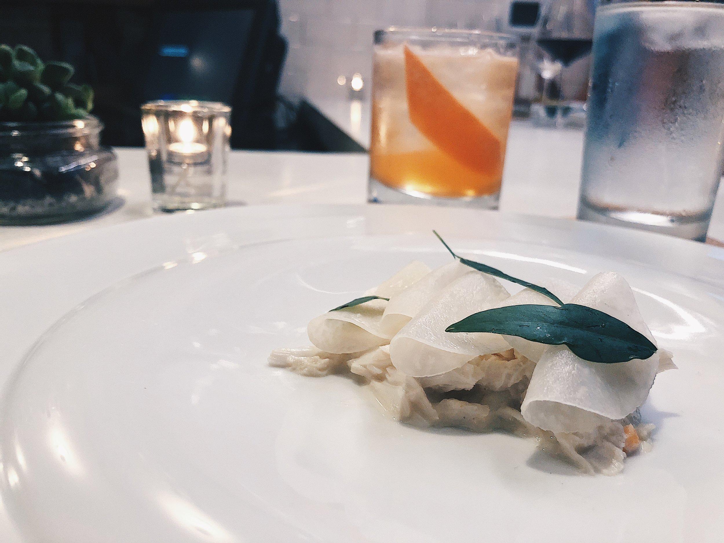 crab, kohlrabi, papalo
