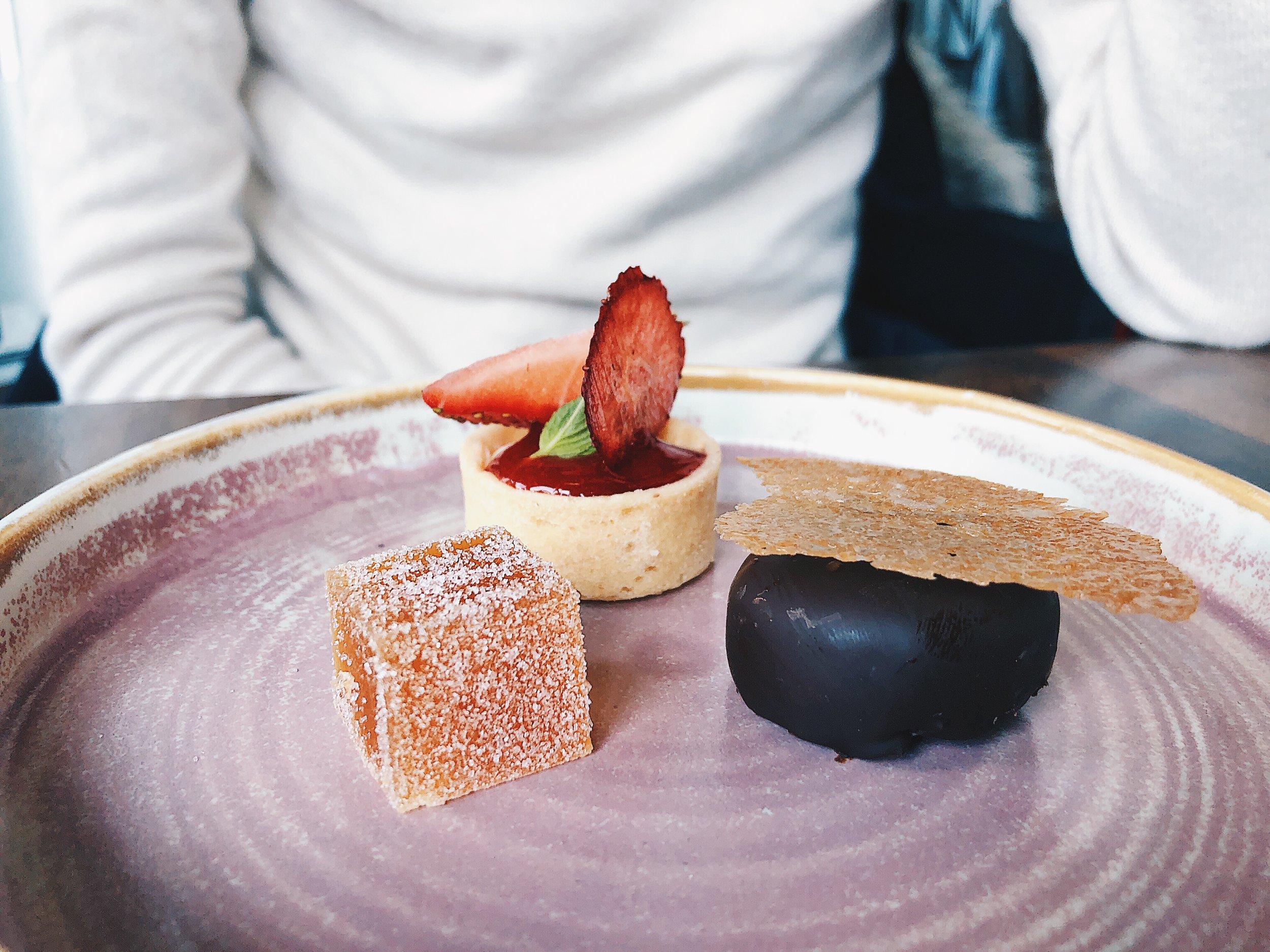 PETIT FOURS  - white chocolate & cream cheese mousse tart, dark chocolate ganache brownie, fruit gelee