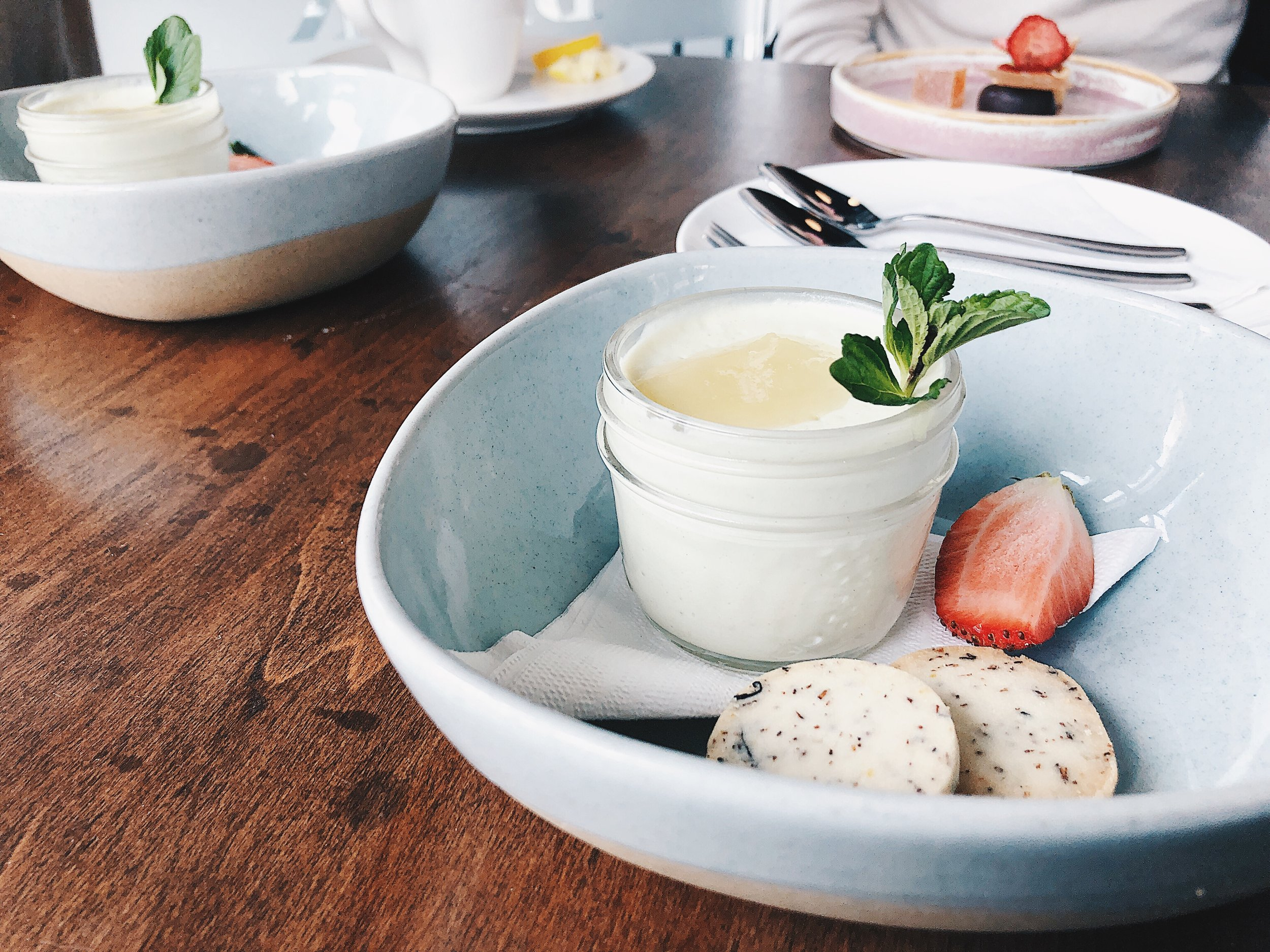 AVOCADO AND HONEY PANNA COTTA  - blueberry rooibos shortbread, strawberry