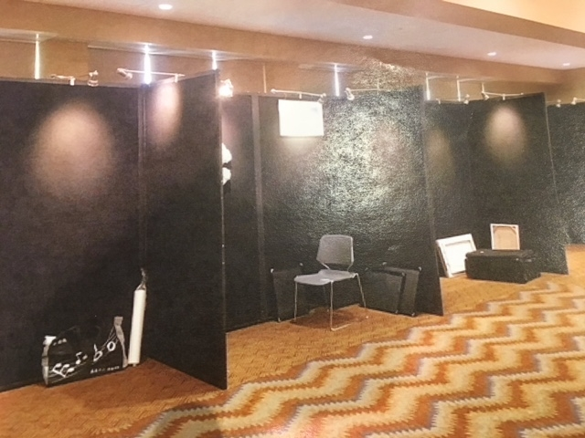 This is a sample of the four foot wide booths. Lights are included in the setup.