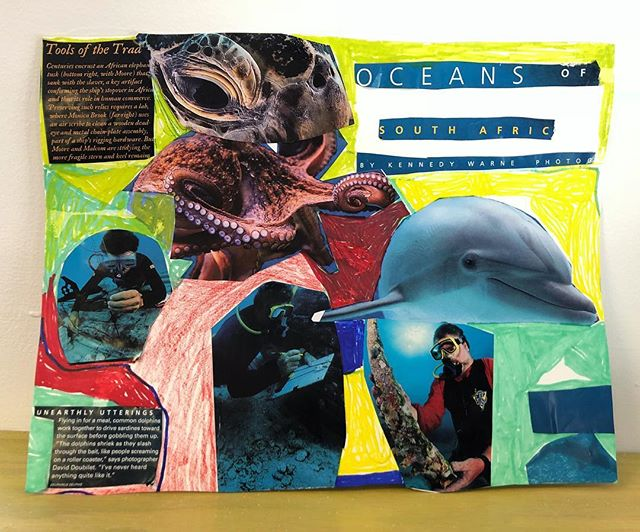 """This awesome collage titled """"Devin's Ocean Art"""" was just completed today and is for sale in our gallery! Thank you!  #bombdiggity #bombdiggityarts #maineart #collageart #artforsale #allabilitieswelcome #personfirst #oceanart #maineartists #portland #portlandmaineart"""