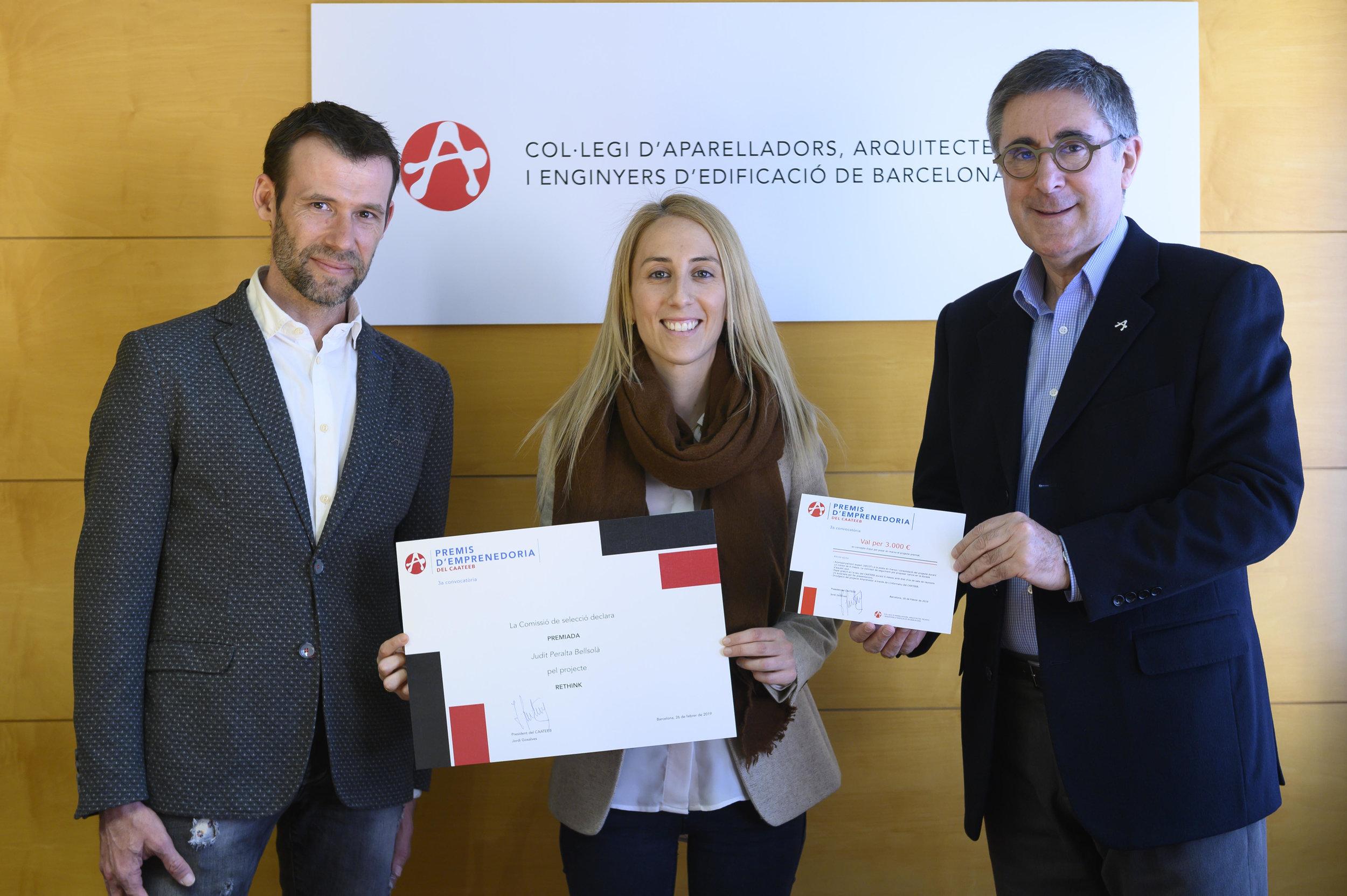 Rethink, ha sido galardonado con el Premio al Emprendimiento que ofrece el Colegio de Aparejadores, Arquitectos Técnicos e Ingeniero de la Edificación de Barcelona (CAATEEB).