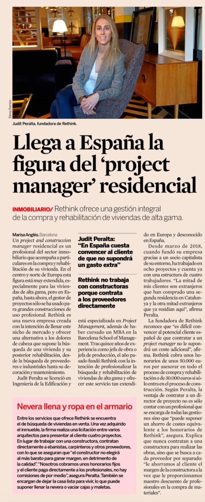 Judit Peralta concede una entrevistada al diario Expansión, explicando la nueva figura del Project Manager residencial.