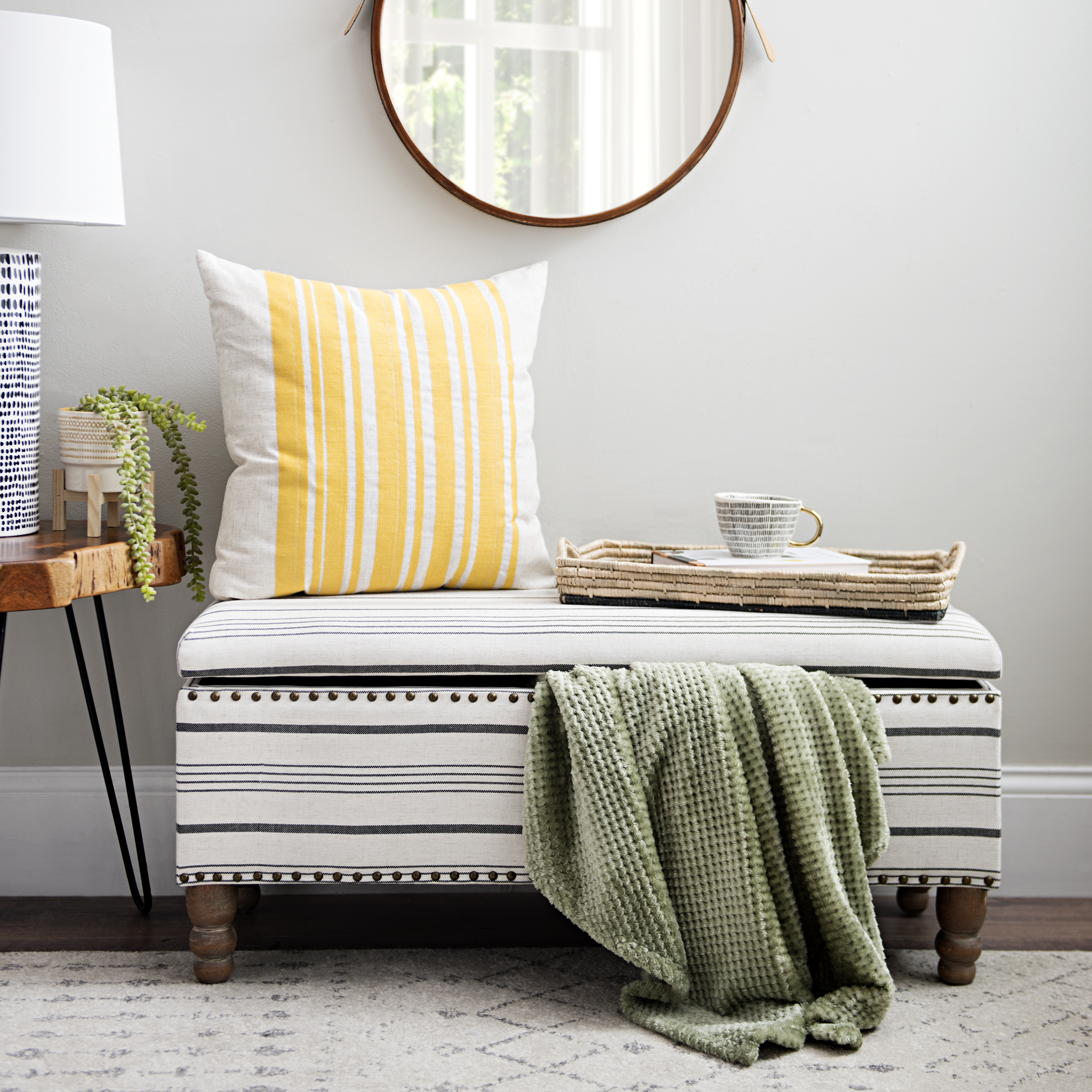 Kirkland's - Black and White Striped Storage Bench