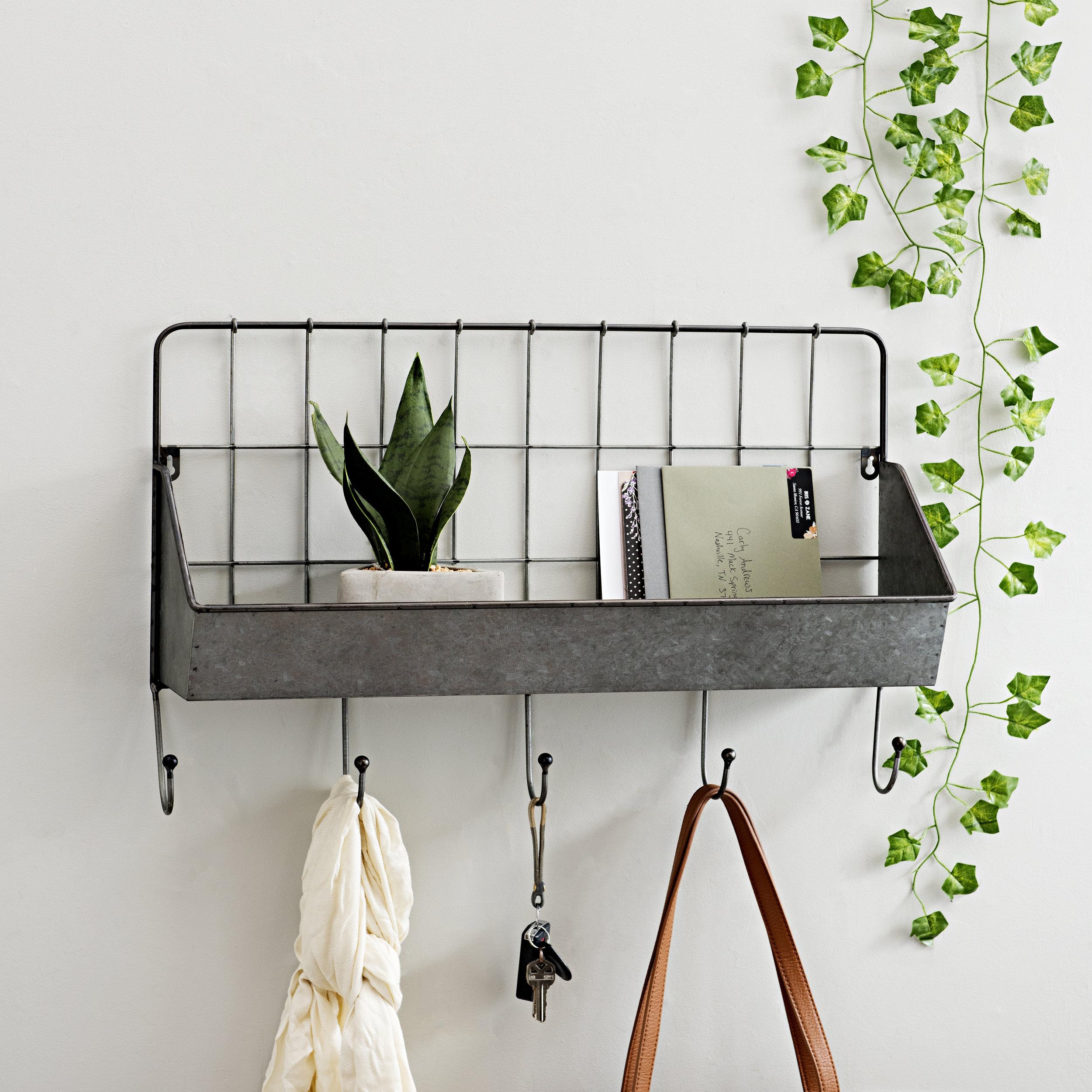 Kirkland's - Galvanized Metal Pocket Shelf with Hooks