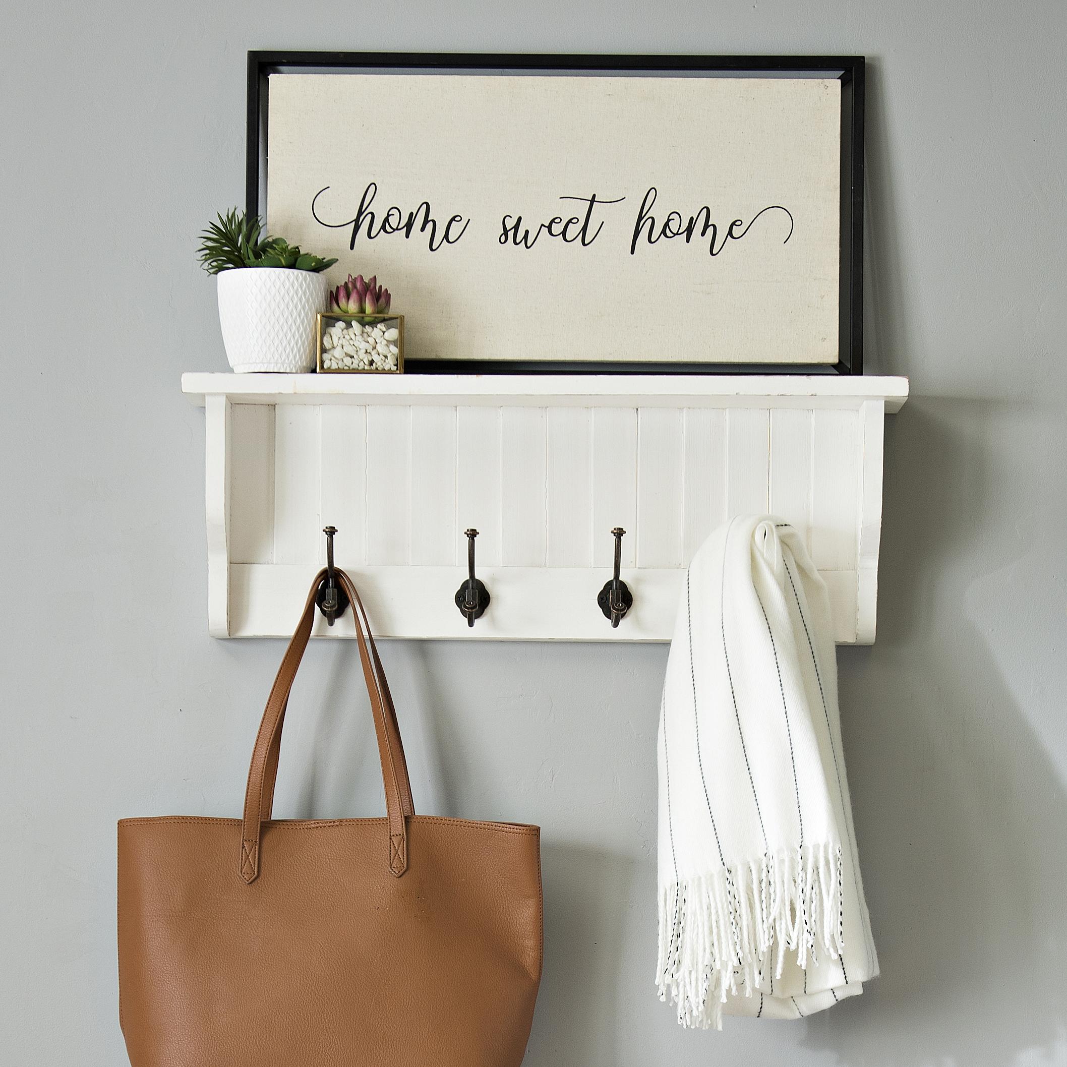 Kirkland's - White Shutter Hooks Wall Shelf