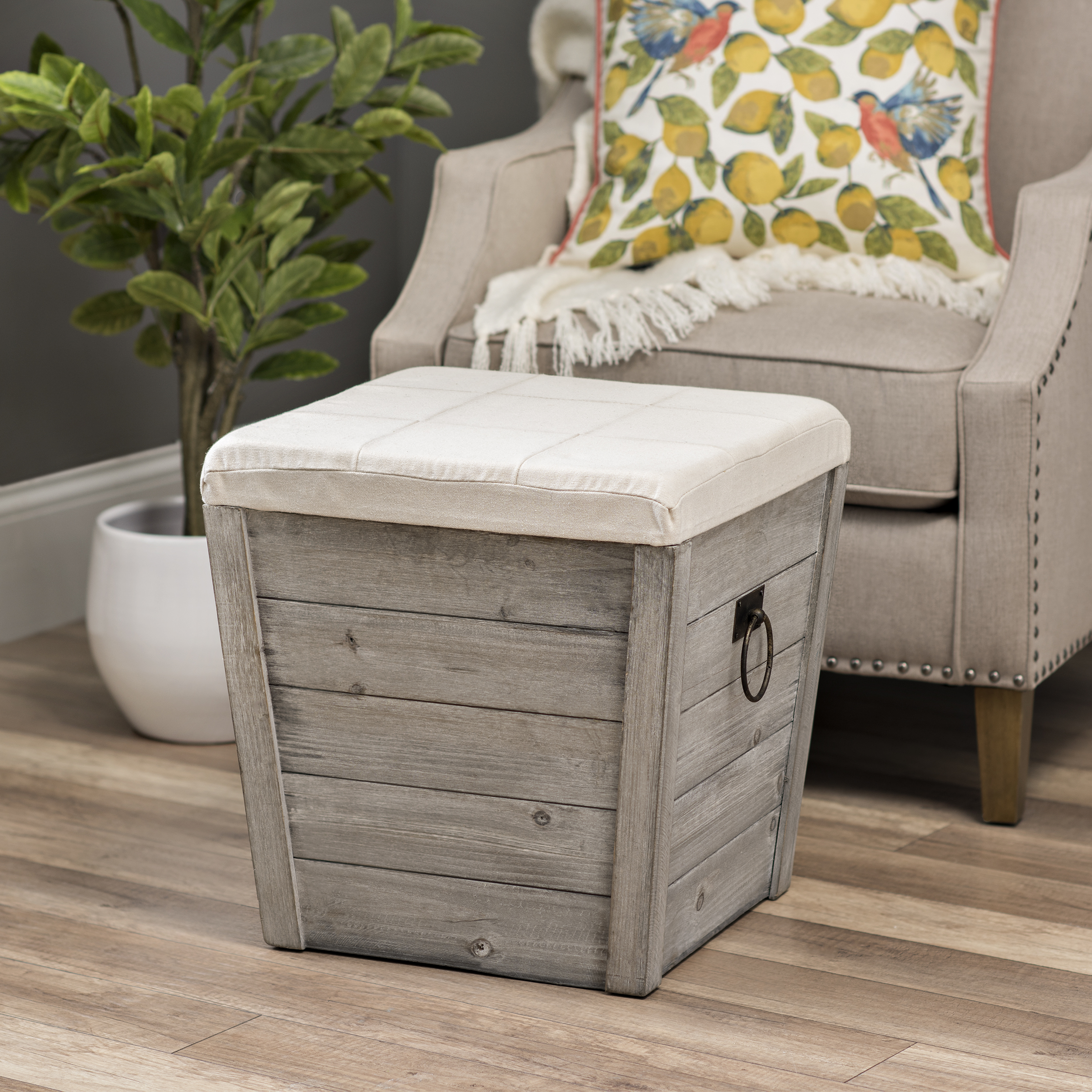Kirkland's - Gray Shiplap and Linen Tapered Storage Ottoman