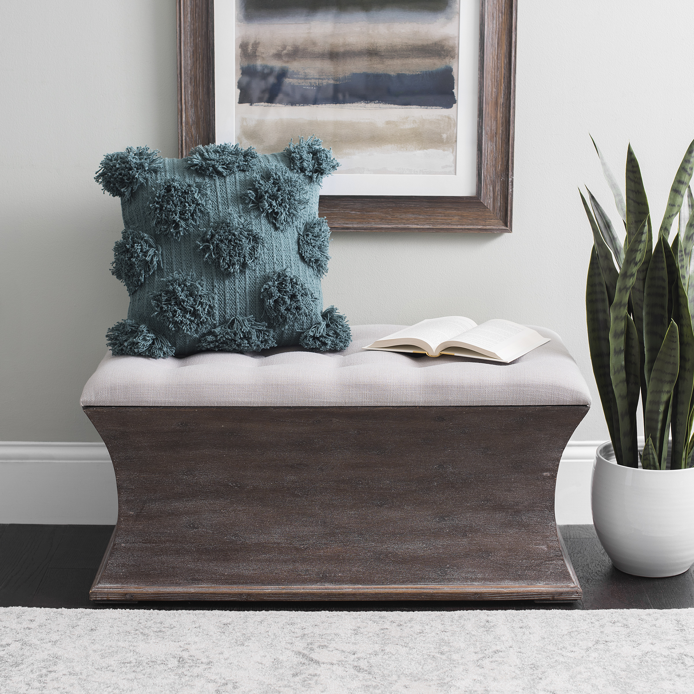 Kirkland's - Lilly Curved Storage Bench with Tufted Top