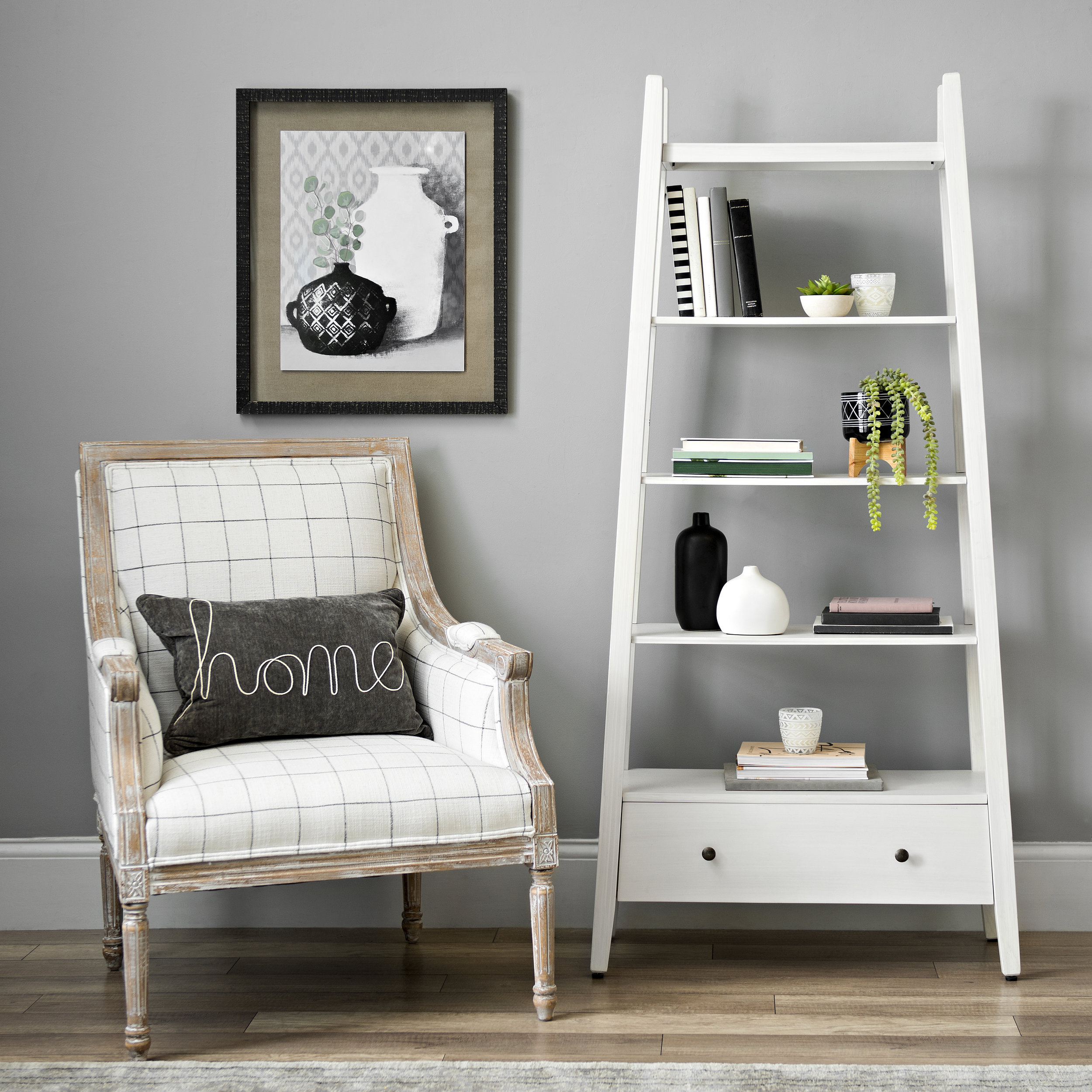 Kirkland's - White Wood Media Shelf with Drawer