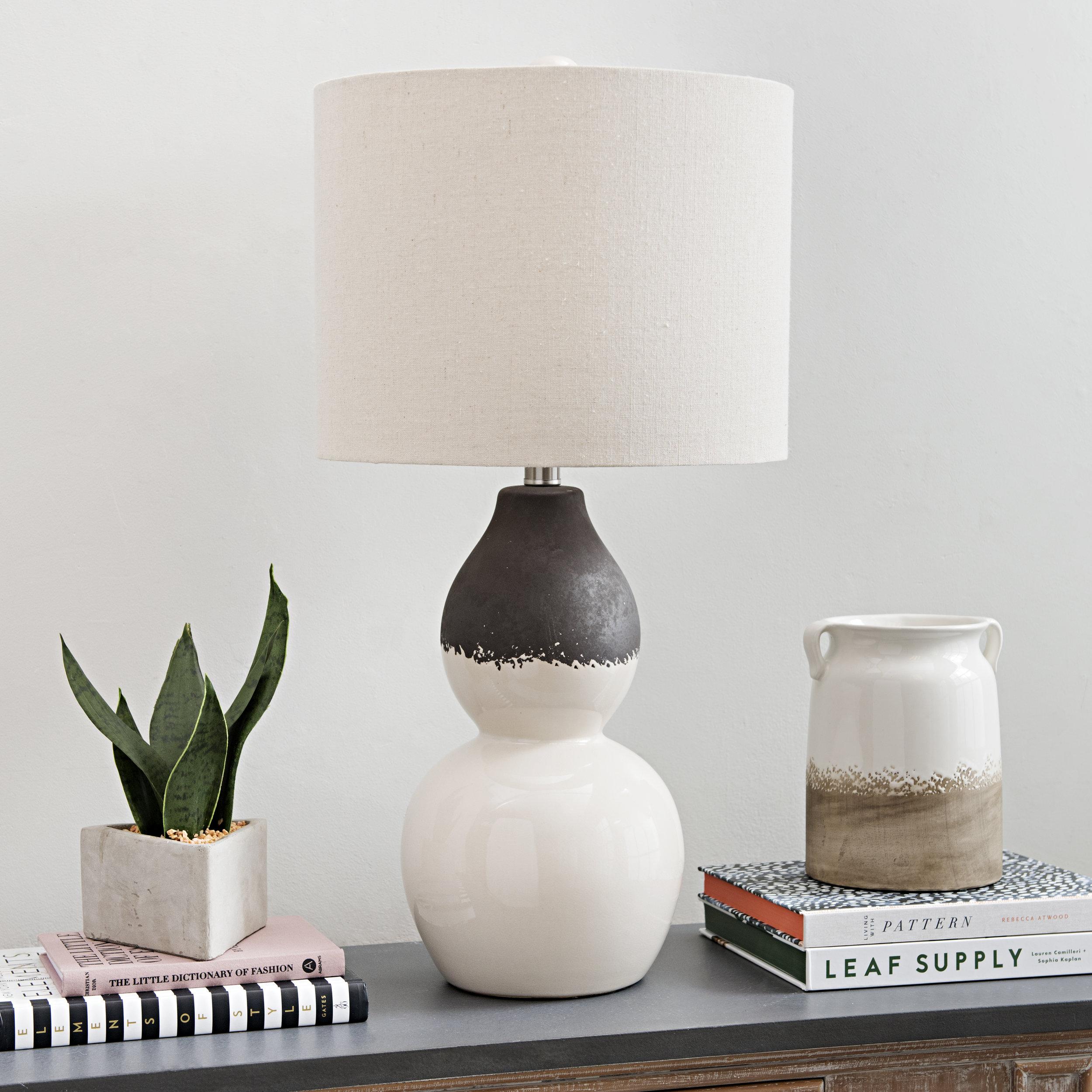 Kirkland's  - Cream Dip Ceramic Gourd Table Lamp