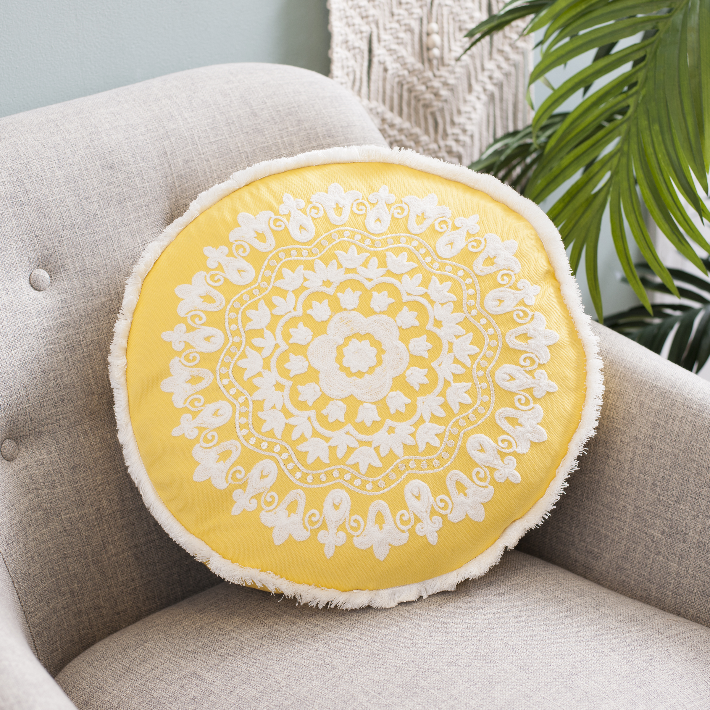 Kirkland's - Yellow Round Embroidered Accent Pillow