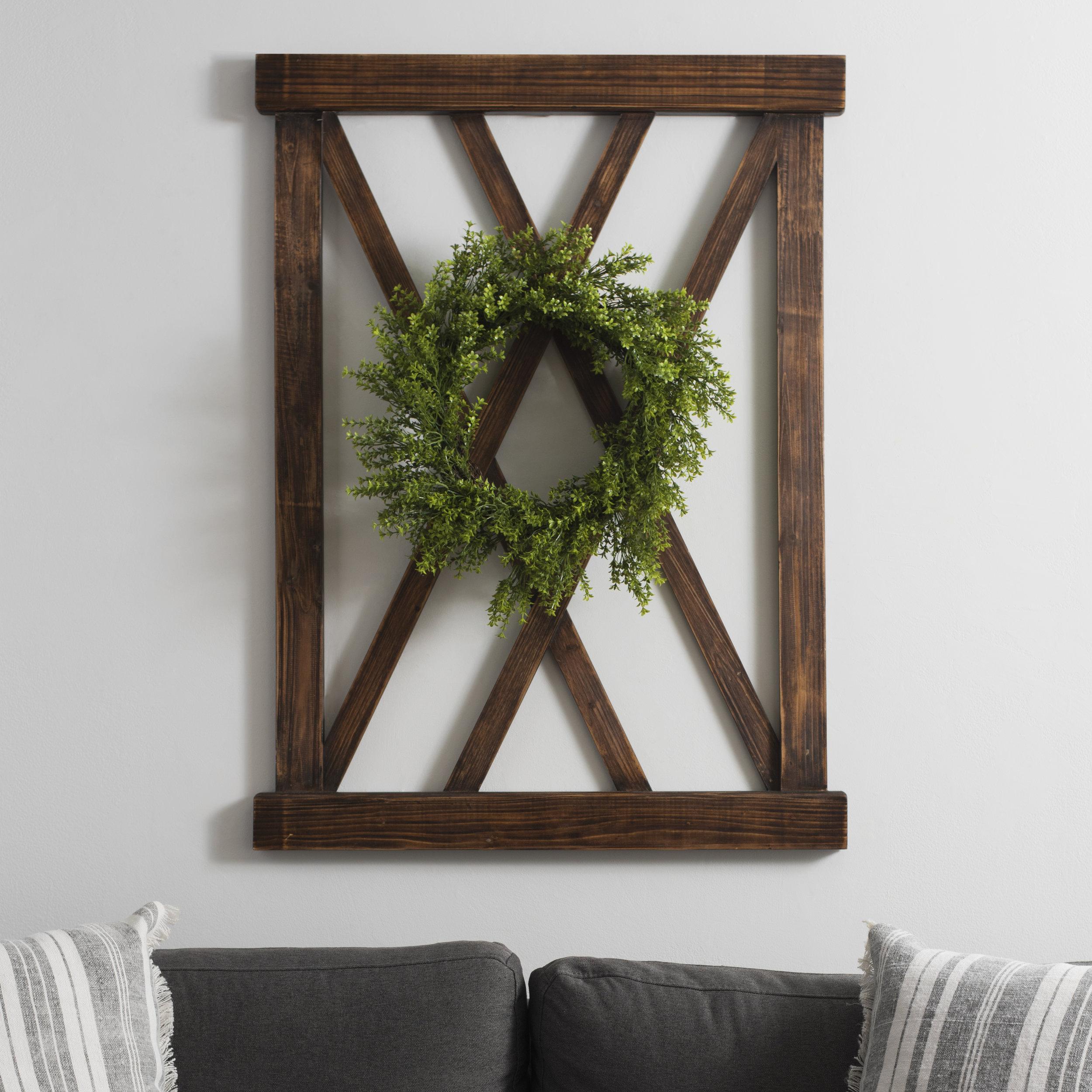 Kirkland's - Dark Walnut X-Frame Wood Wall Plaque with Wreath