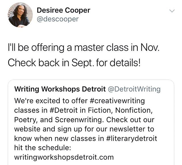 We're excited @descooper is going to teach a master class this fall!! #literarydetroit #writingworkshopsdetroit