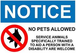 NOTICE No Pets Allowed