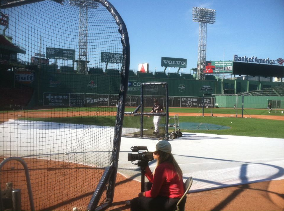 Brian throwing batting practice at Fenway Park during the Cap Cod League Scout Day.