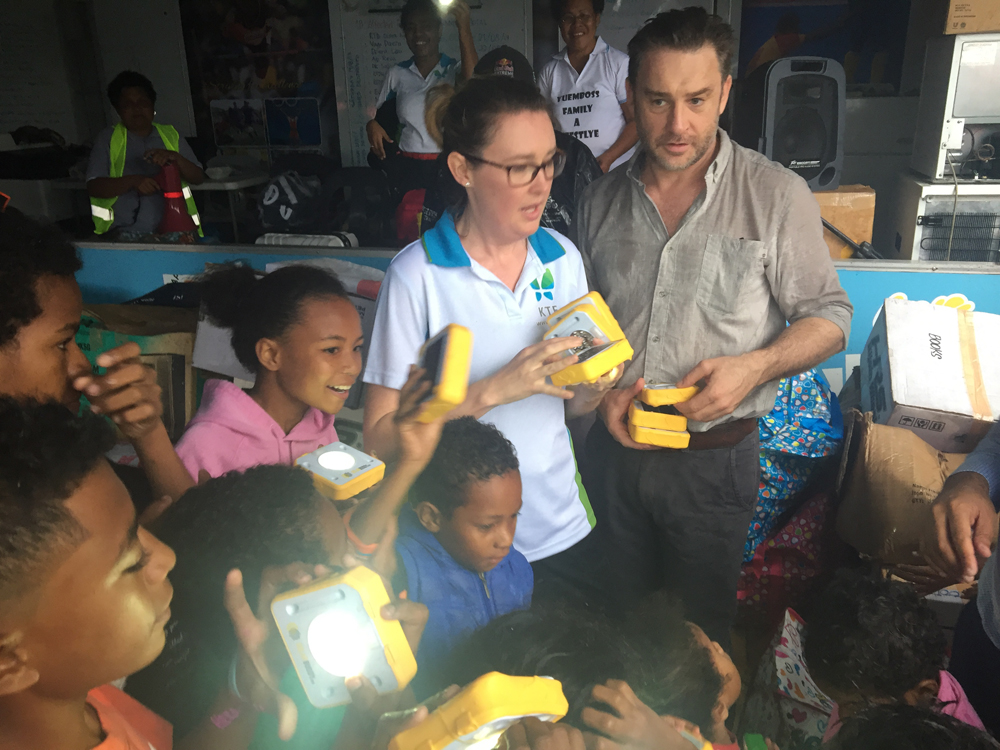 SolarBuddy and KTF's CEO's working hard together to change the lives of students in PNG.