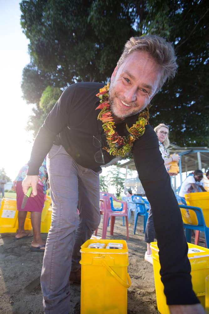 Simon Doble looking extremely happy to be changing the lives of more children living in energy poverty!