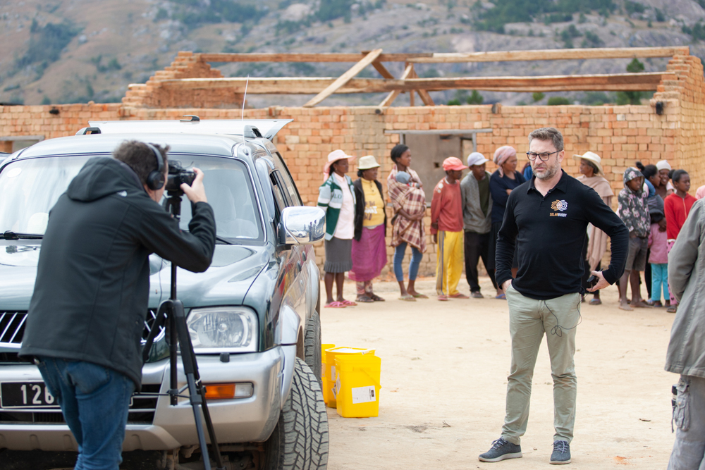 CEO Simon Doble sharing the experience in Madagascar with the film crew.