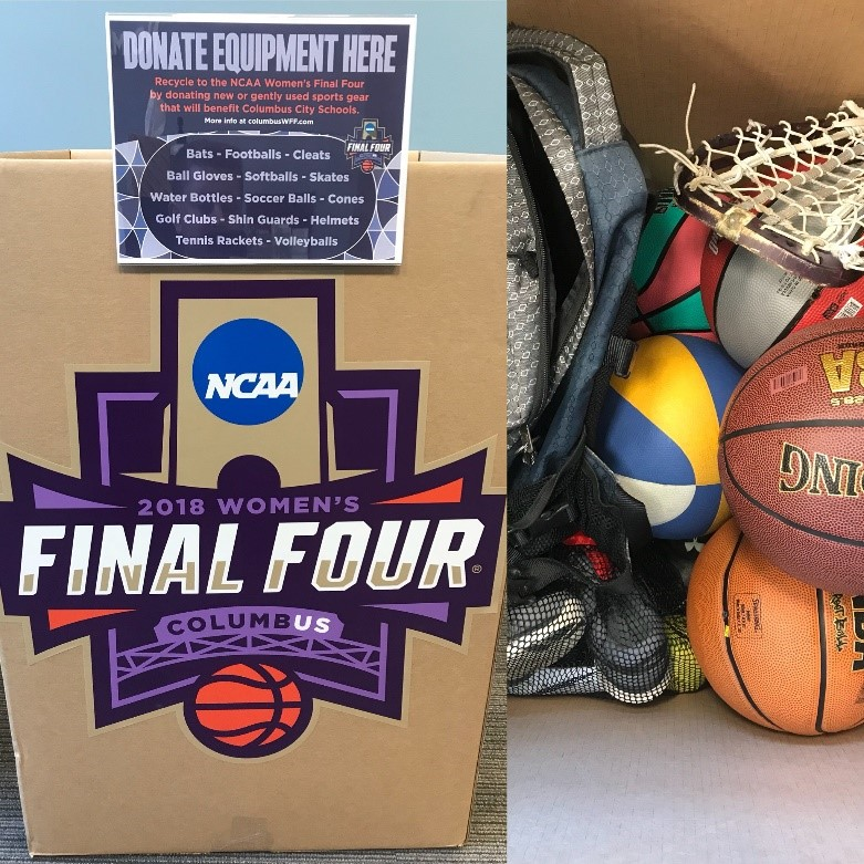 The Columbus Local Organizing Committee asked what local school athletic departments needed and placed collection bins around the city. More than 300 pounds of gear was donated and redistributed. Photo: Council for Responsible Sport