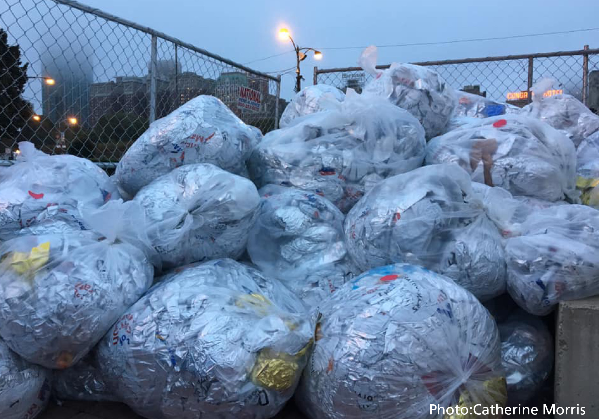 As dusk settles in after the running of the 2018 Bank of America Chicago Marathon on October 7, insulation blankets by Heatsheets have been collected and bagged, ready to be recycled into a bench to be donated to a Chicago park nearby.