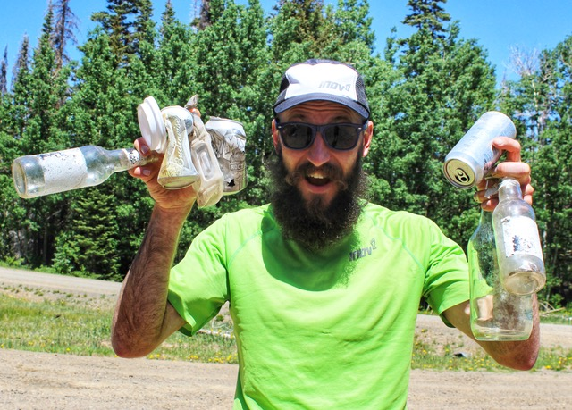 Peter Maksimow with trash collected during the Del Norte Trails Showcase