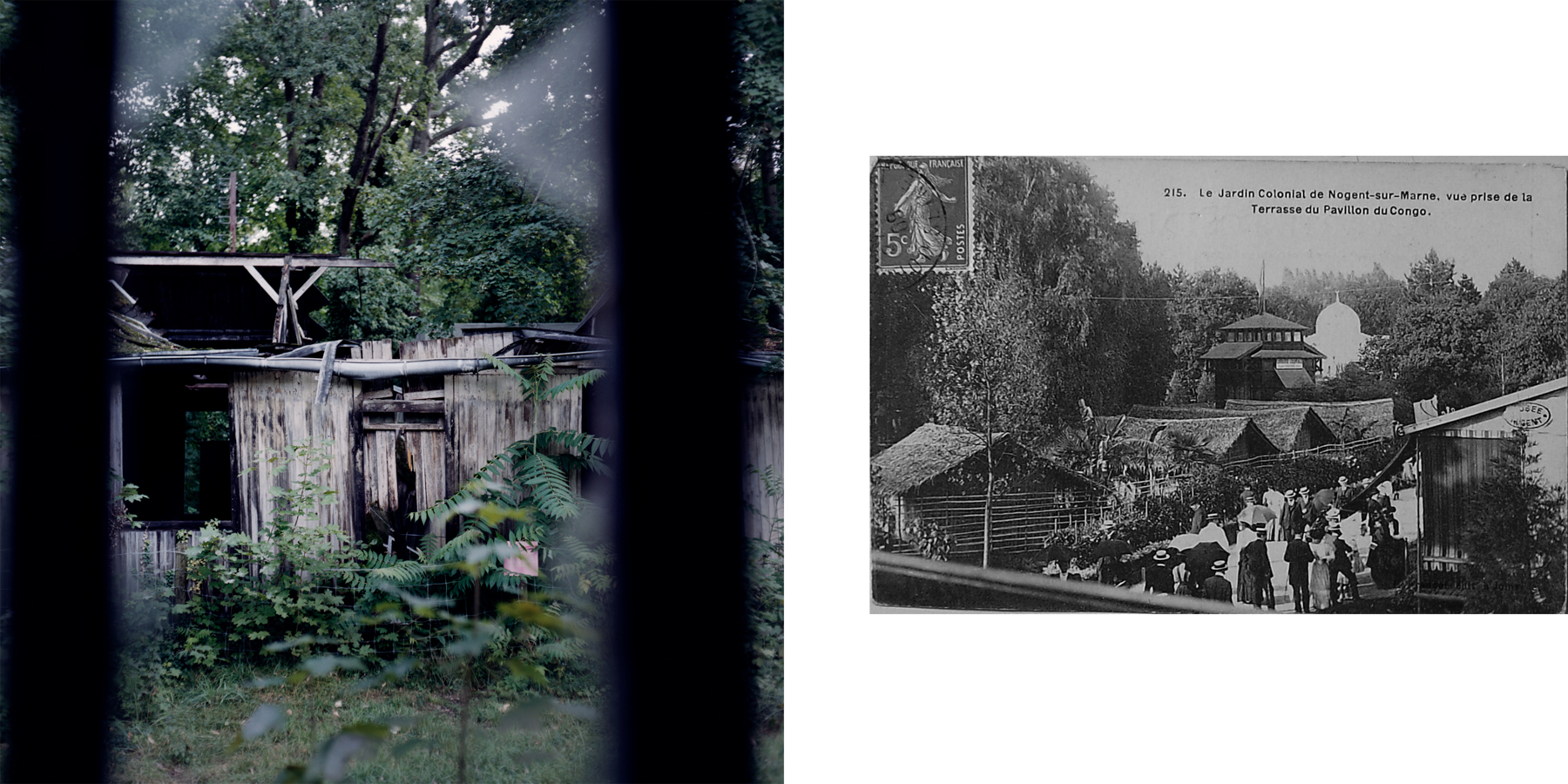 Left: Only the foundations of the Congo Pavilion remain after a 2004 fire. Right: A historical photo from the 1907 colonial exposition shows the living African village from the terrace of the Congo pavilion. During the exposition the pavilion displayed objects and products from French equatorial Africa. Nogent-sur-Marne, France