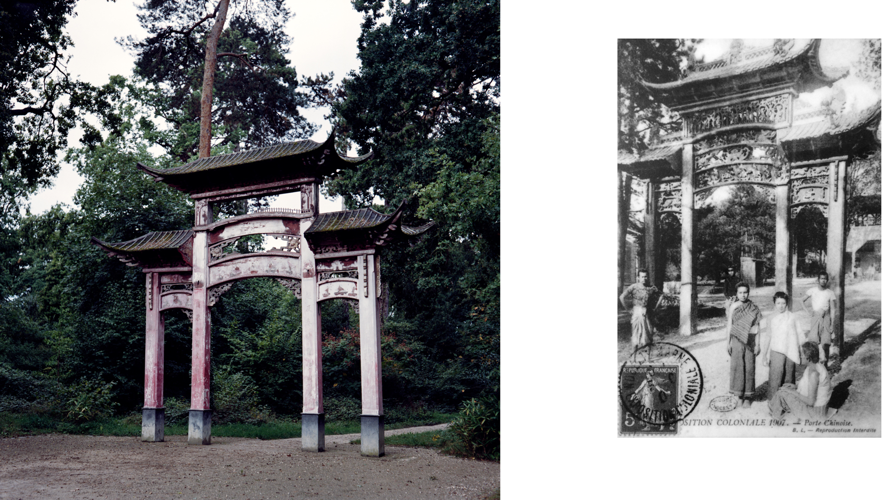 Left: La Porte Chinoise/The Chinese door, at the entrance to the Jardin d'Agronomie Tropicale (JAT) in a small park outside Paris. This gateway's origin is unknown, but it was originally installed in the Paris 1906 colonial exposition, before moving to the JAT in 1907. Right: A historical photo depicts la Porte Chinoise as installed in the 1907 colonial exposition. Nogent-sur-Marne, France.