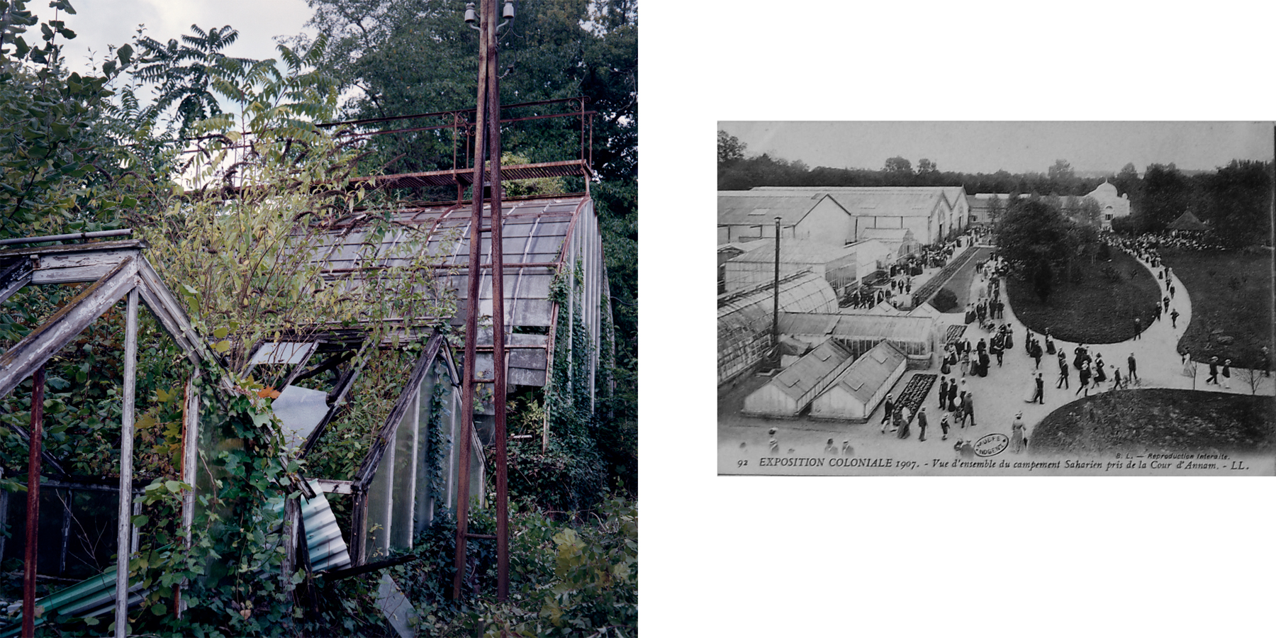 """Left: In July of 1899, the first greenhouse was built in the JAT to experiment with new methods to cultivate colonial crops. After being displayed at the 1900 Paris World's Fair, two more greenhouses were added to the JAT, one for coffee and one for cacao. Right: A historical photo from the 1907 colonial exposition depicts the greenhouses and part of the """"Saharan encampment."""" Nogent-sur-Marne, France."""