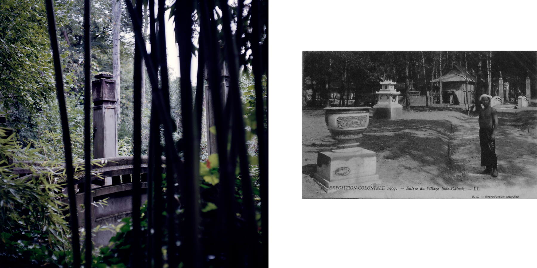 """Left: Le Pont Tonkinois/the Tonkinese Bridge, once the entrance to the """"Indochinese living village,"""" is now surrounded by overgrown bamboo. Right: A historical photo depicts the entrance to the Indochinese living village during the 1907 colonial exposition. This section of the park featured live elephant training shown alongside people from mainland southeast Asia. Nogent-sur-Marne, France."""