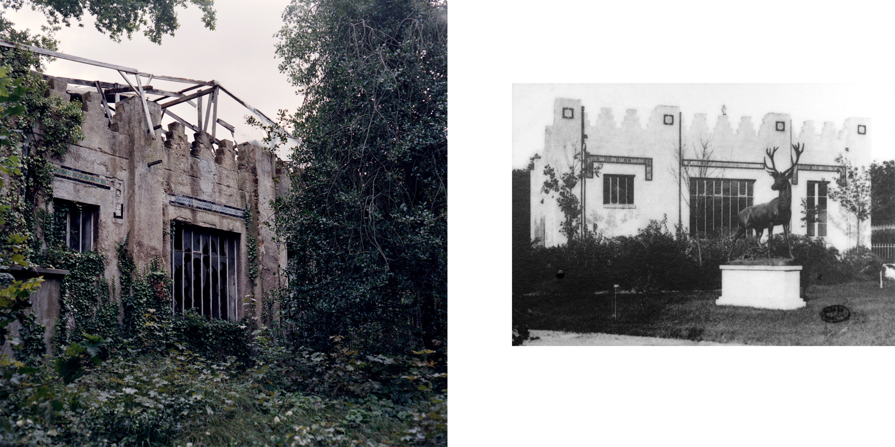 Left: The Moroccan pavilion, built in 1902, housed the University of Colonial Agriculture and eventually became a laboratory, like the Tunisian and Guyanese pavilions. There is little information about the work done in the laboratories, but there is mention of genetic research happening in 1925, at the height of the eugenics movement. Right: A historical photo depicts the Moroccan pavilion during the 1907 colonial exposition. Nogent-sur-Marne, France.