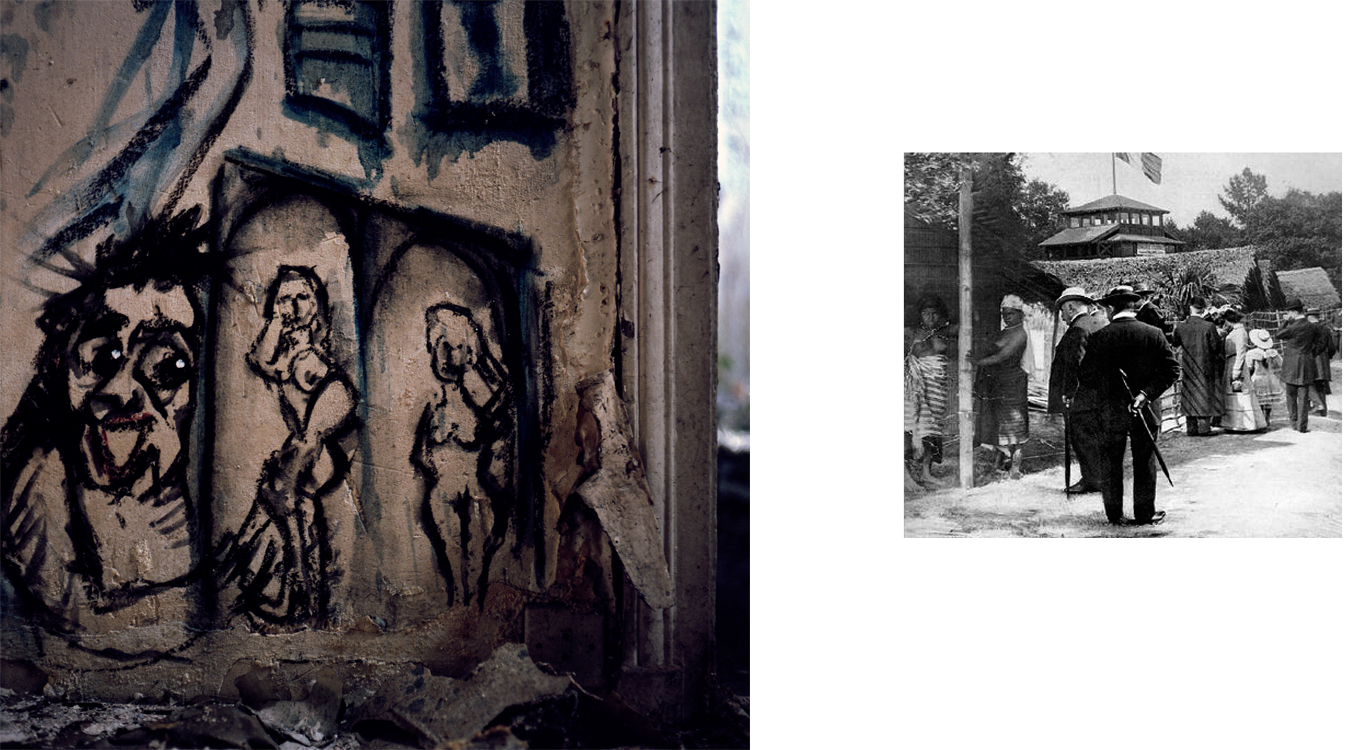 Left: Squatters covered the Moroccan pavilion's interior with graffiti. Right: A historical photo from the 1907 colonial exposition depicts the inhabitants of the living African village and some of the more than two million visitors. Nogent-sur-Marne, France.