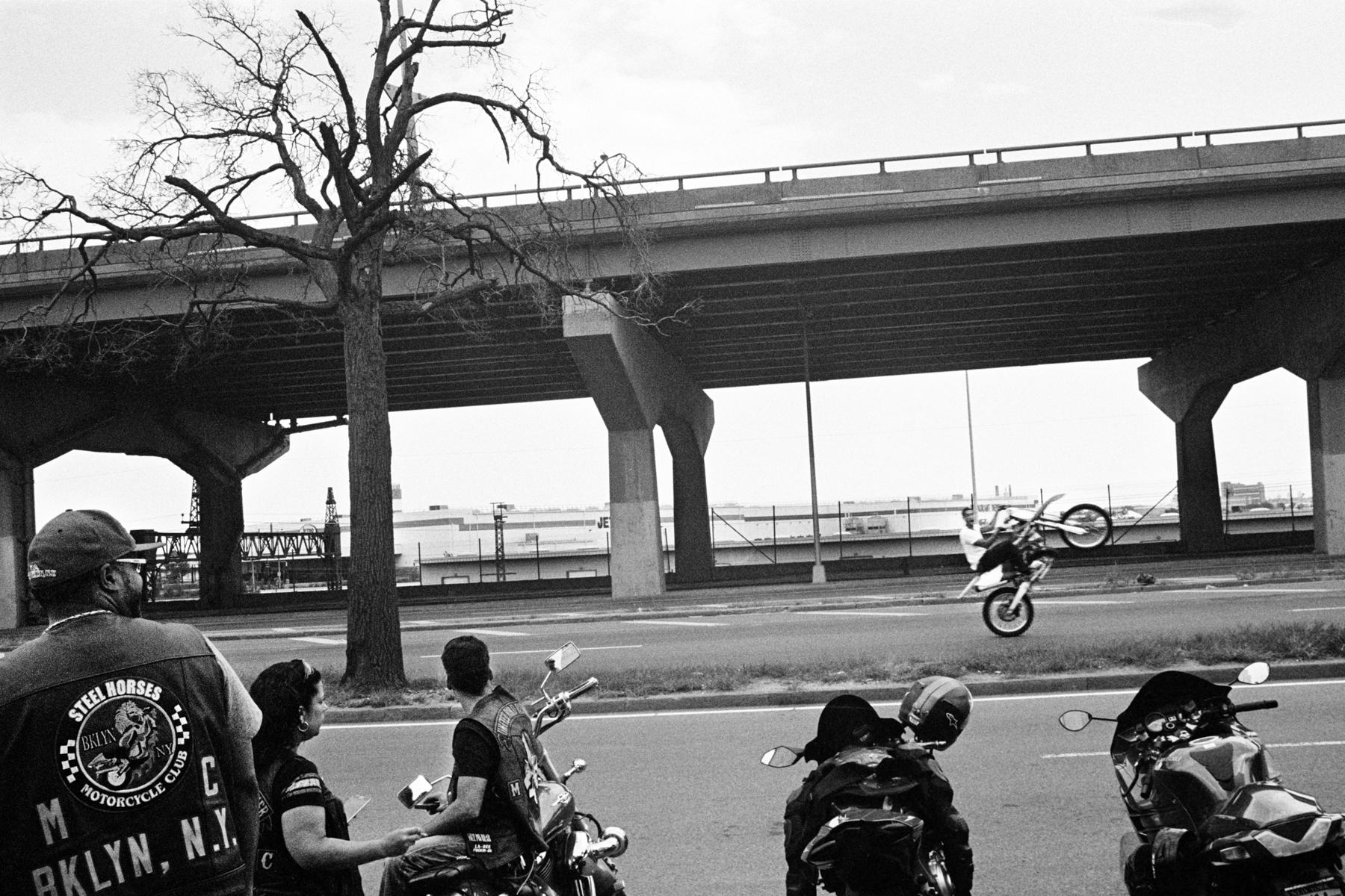 Wheelie on Bruckner Boulevard, The Bronx, 2015