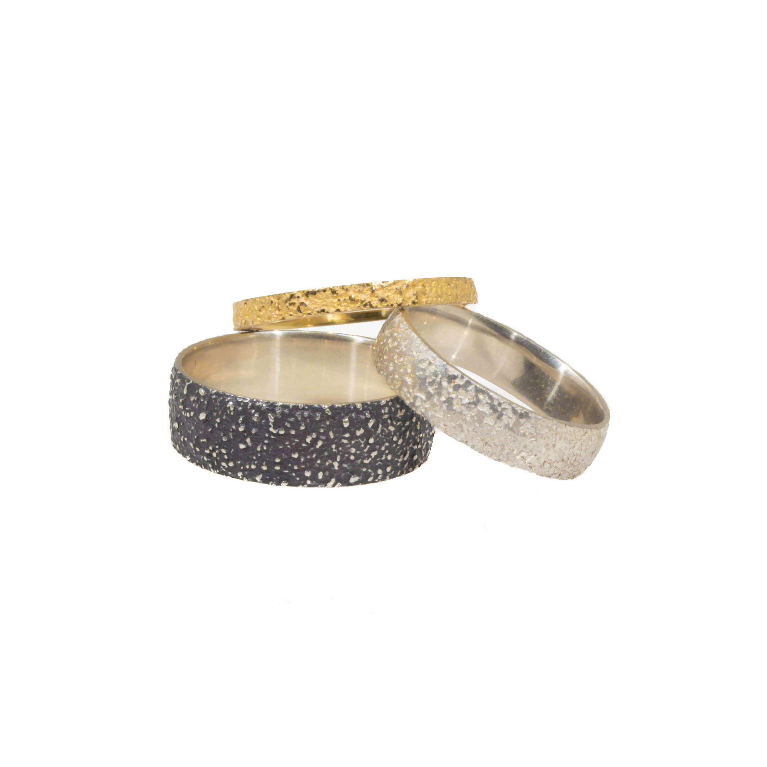 Kate Eickelberg | 18k Yellow Gold Oxidized Silver 3 Sand Bands