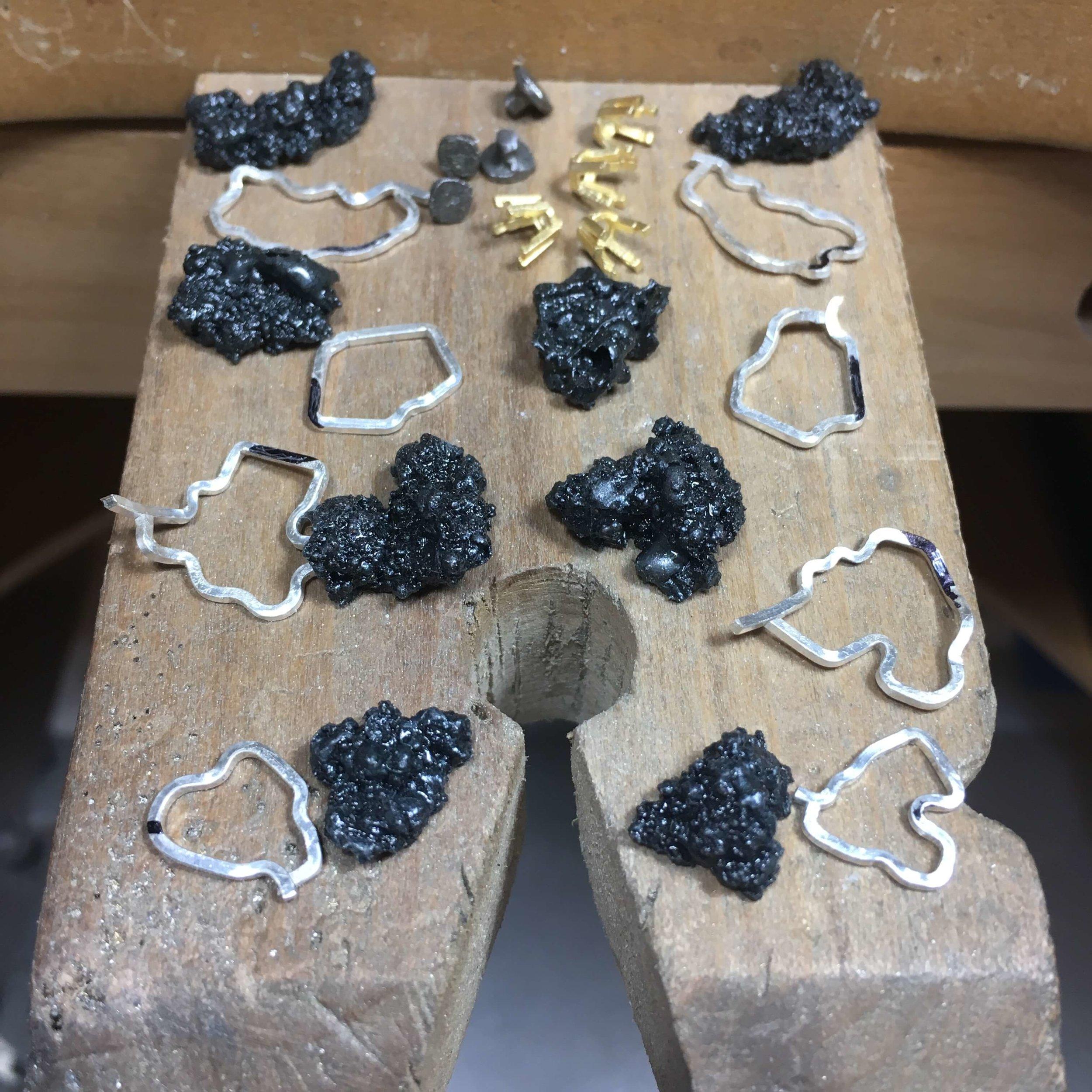 Kate Eickelberg | Steel Splatter Jewelry In Process