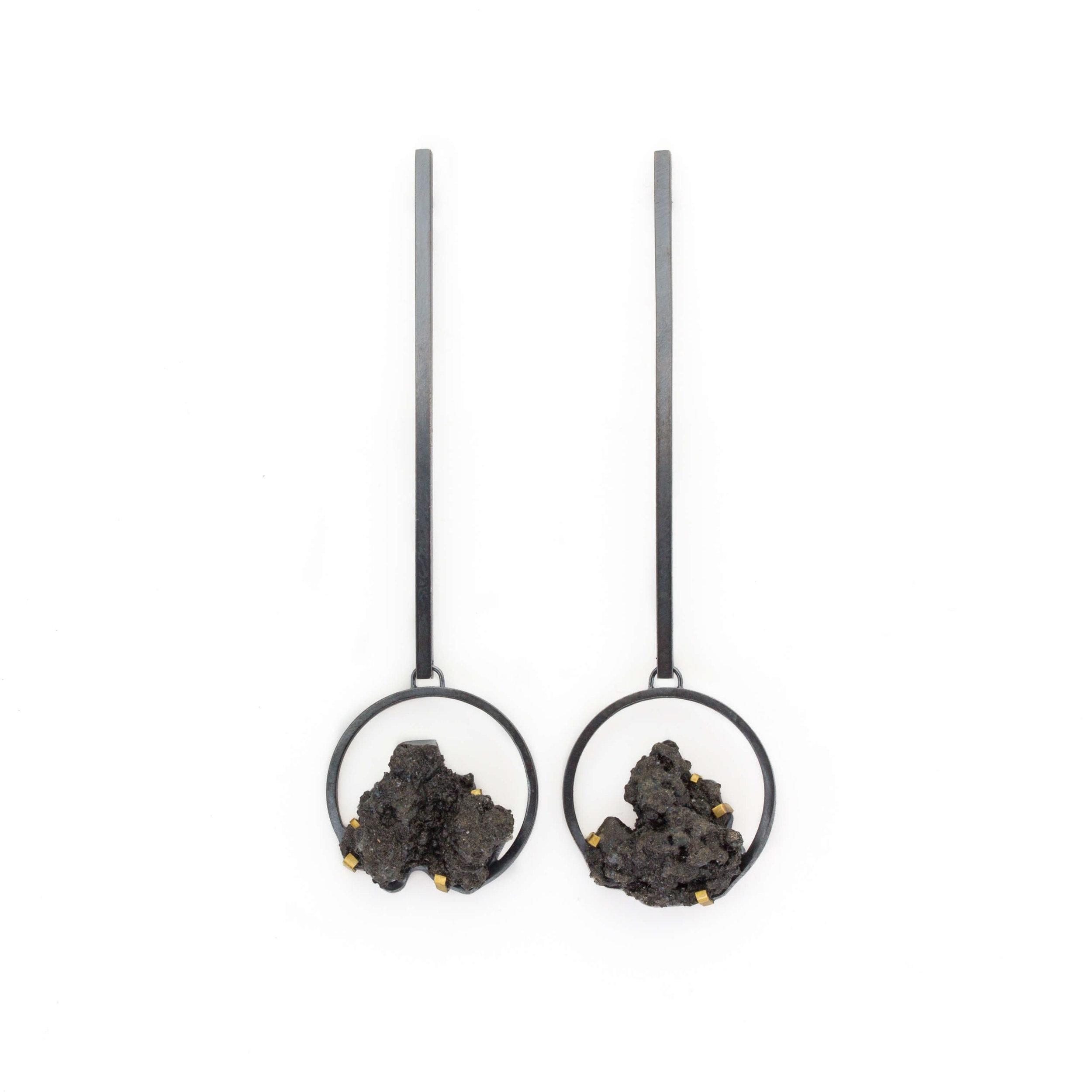 Kate Eickelberg | Circle Steel Splatter Drop Earrings
