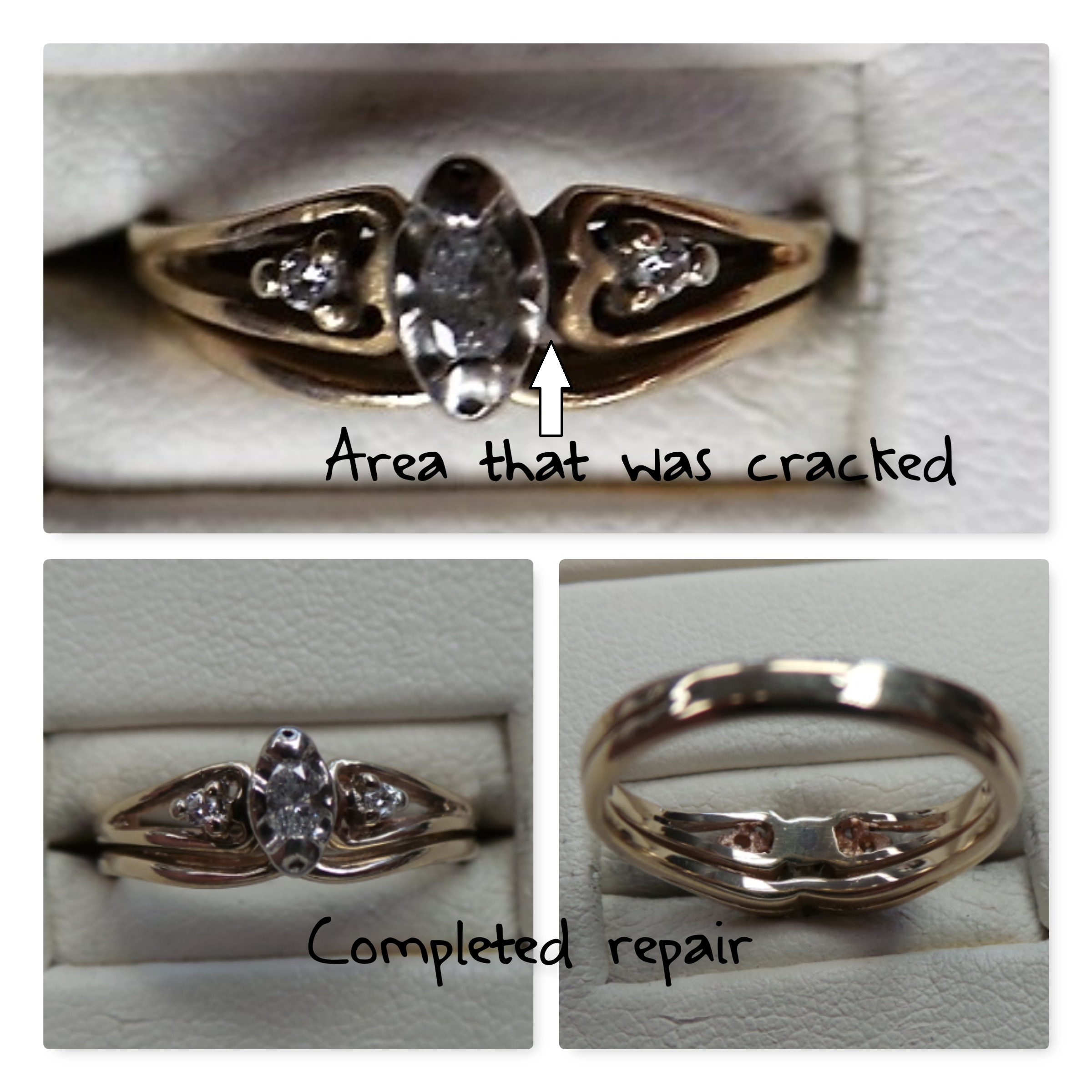 Another jeweler told this client that her ring WAS NOT WORTH REPAIRING, that she should remove the stones & put them into a brand new ring. - This could not be further from the truth!! This ring was a great candidate for a seamless repair!