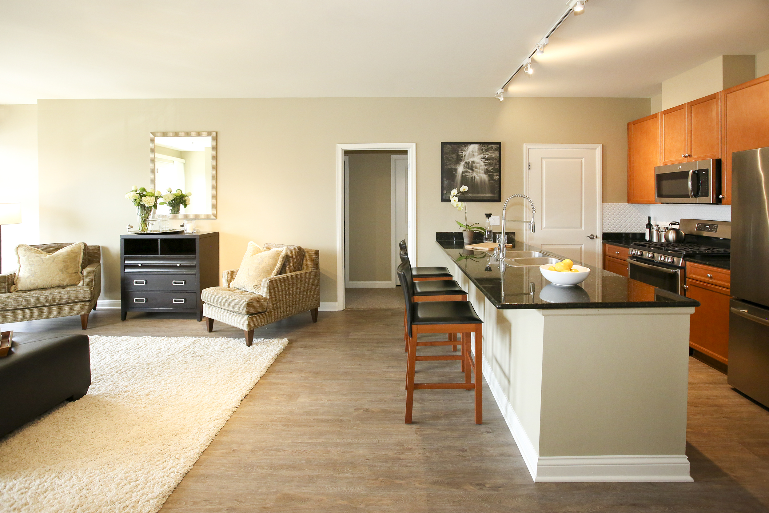 Dining area with stainless steel appliances