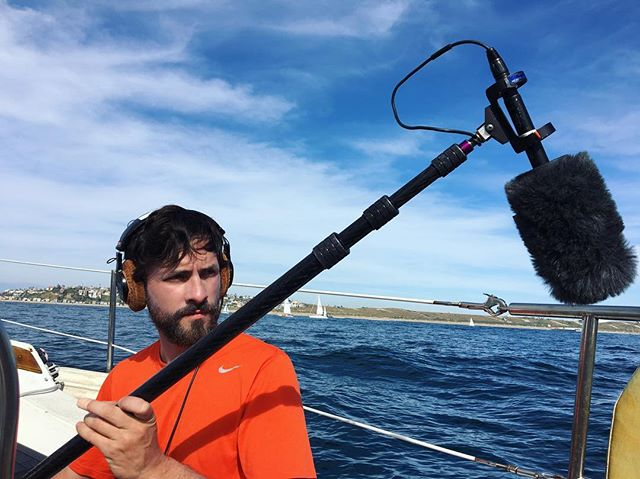 On set? On location?? On a sailboat?!? Doing a little sound for @william_jakespeare's upcoming documentary. 📽@davidmar_dp 📷Jake #filmcrew #sound #boomoperator #boomop #onset
