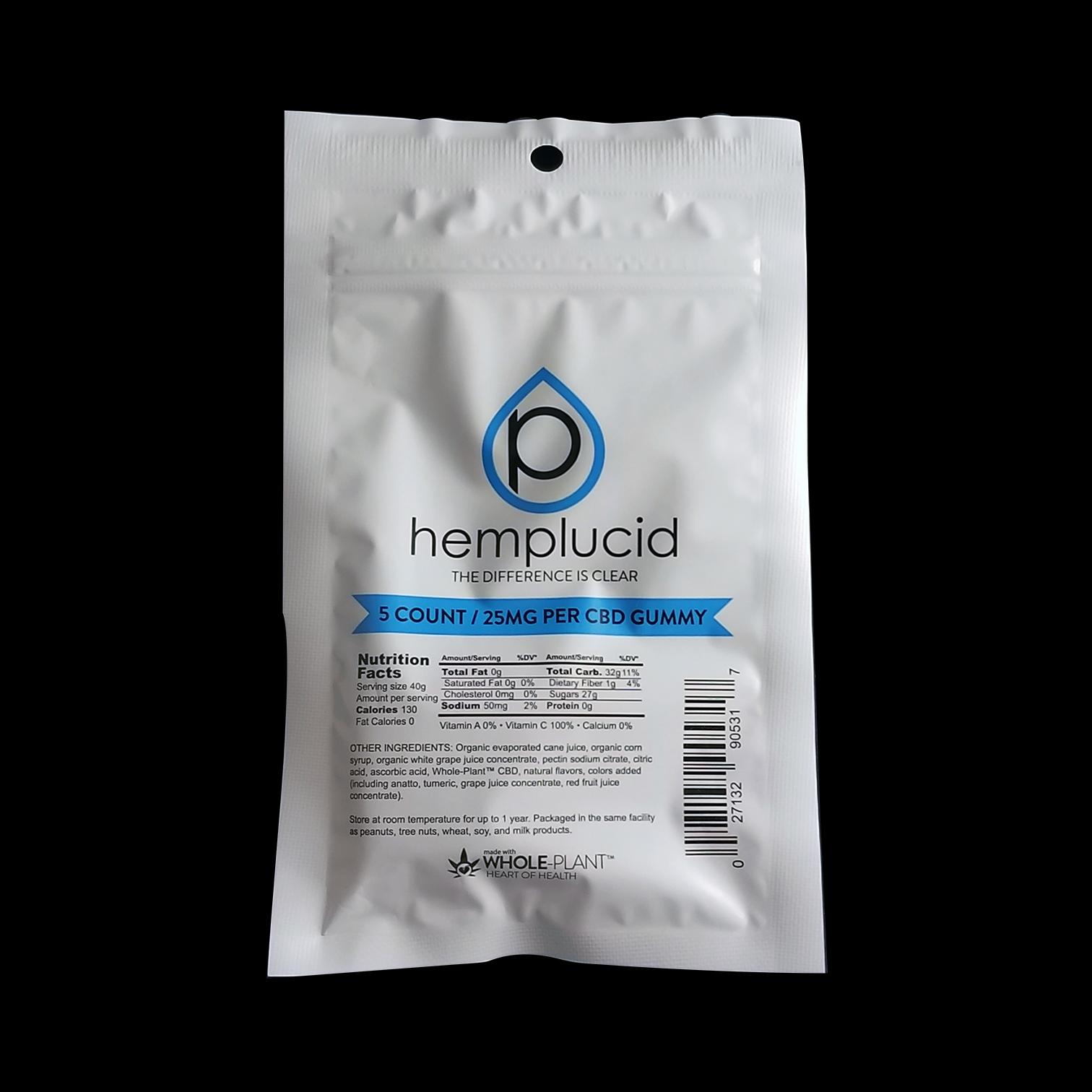 HEMPLUCID  – CBD Gummies, 5ct CBD: 25mg each