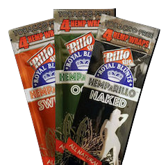 ROYAL BLUNTS HEMPARILLO  – Tobacco-Free Hemp Rolls,  Flavors: OGK, Sweets, Naked, Mango Haze   Suggested Retail Value -  $2 per pack of 4