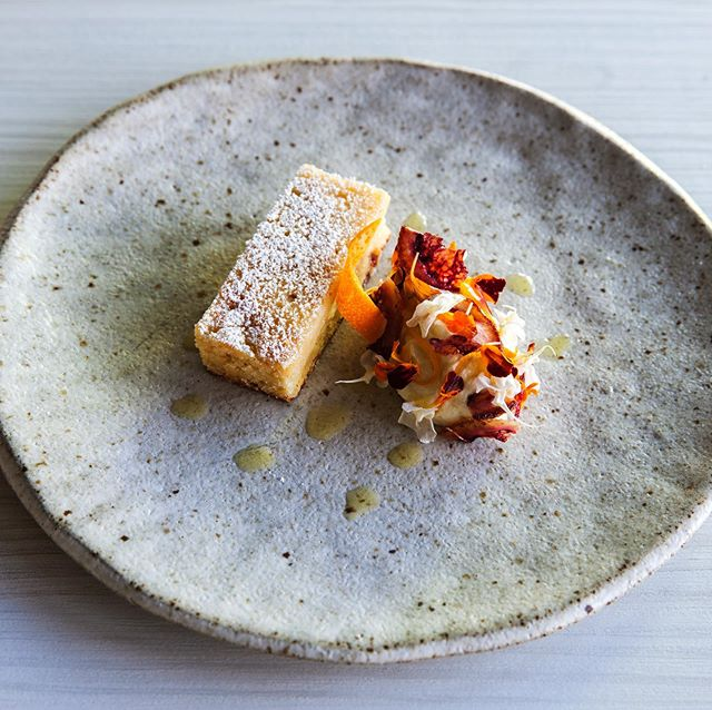 Warm orange financier, whipped ricotta & olive oil mousse. Perfect for a wintery evening