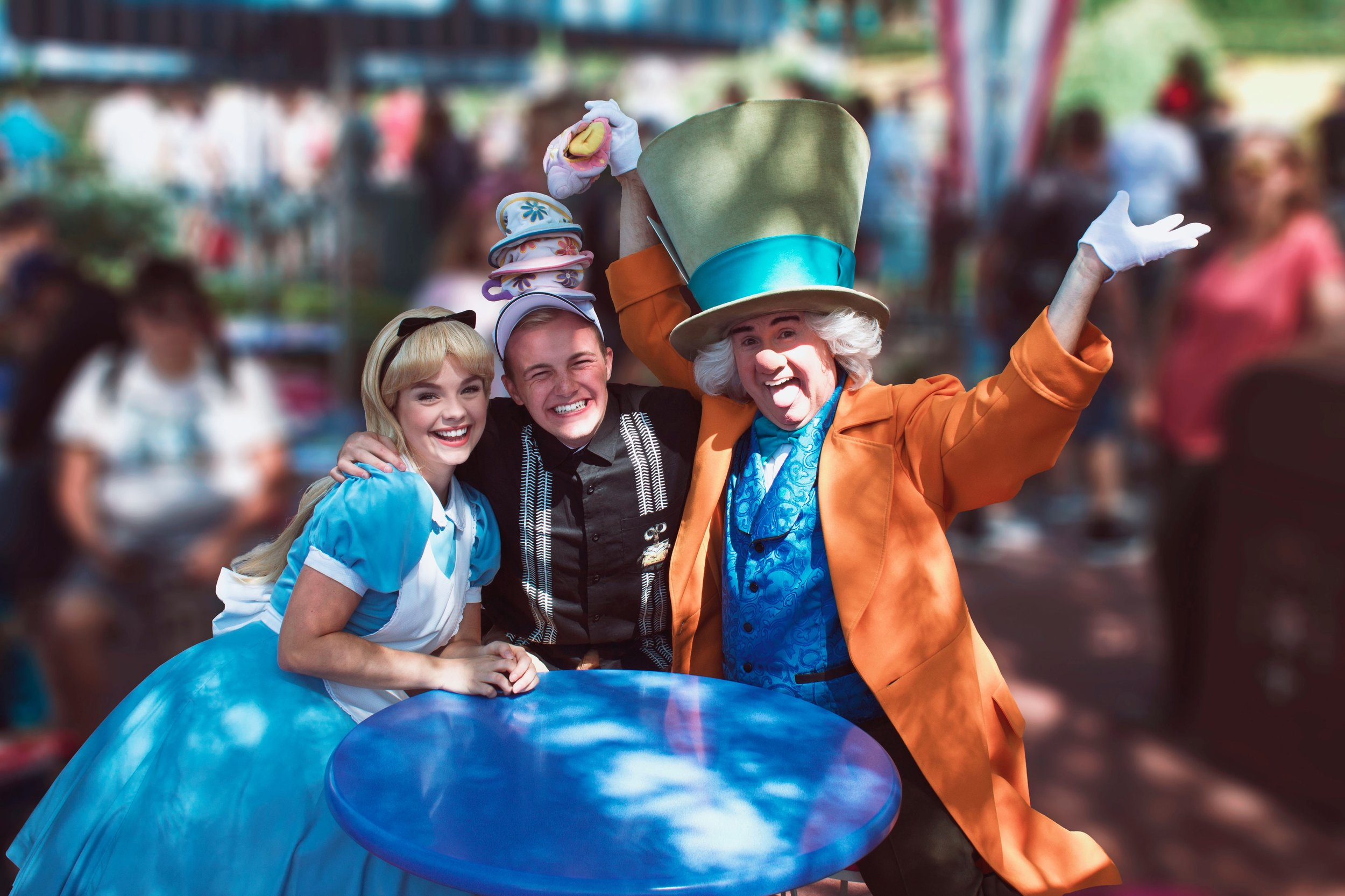 Gage didn't mind crashing a mad tea party to hang out with a few of his favorite characters.