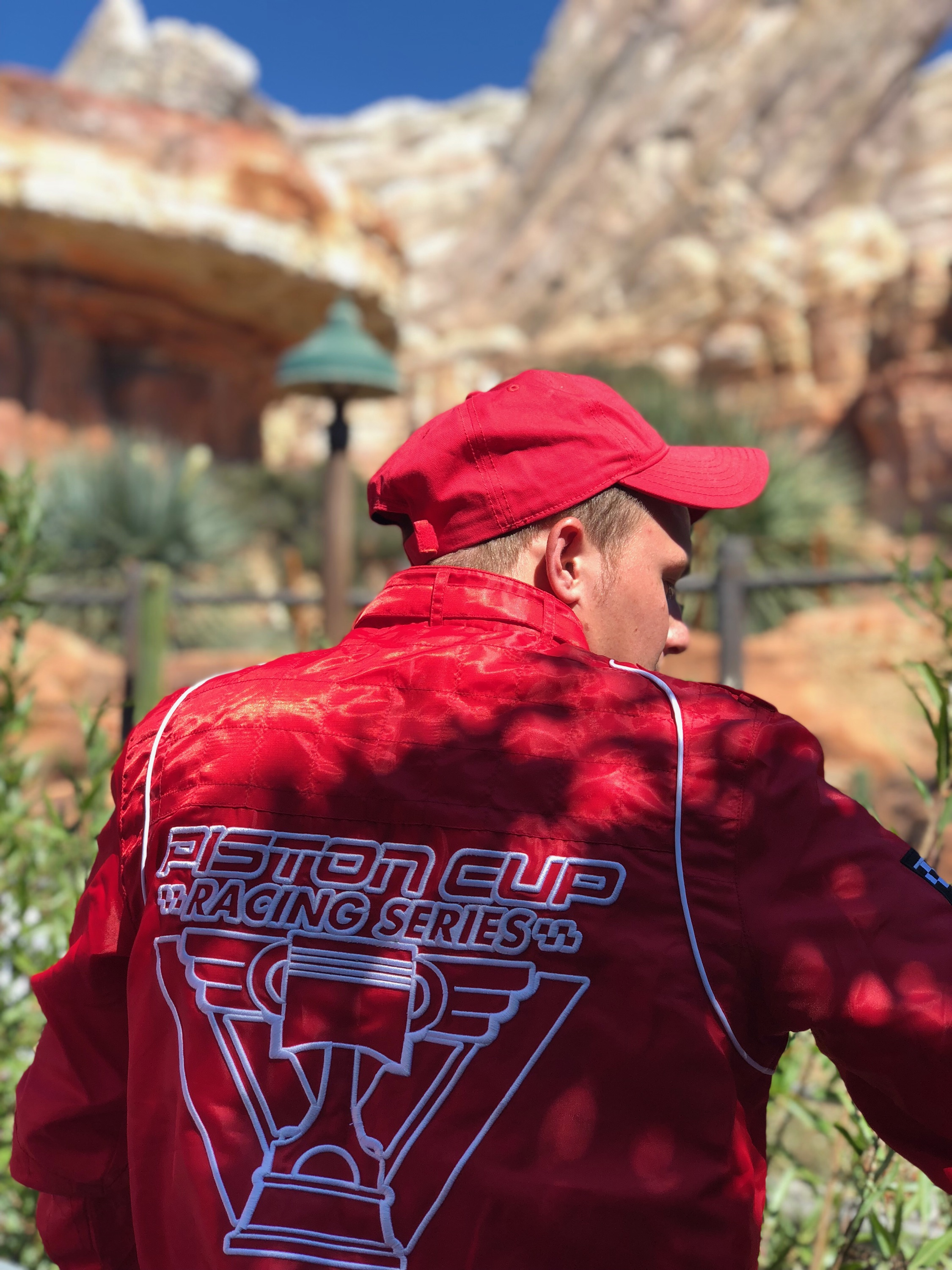 It was only fitting for Gage to wear his Piston Cup Racing Series jacket for his first experience in Cars Land.