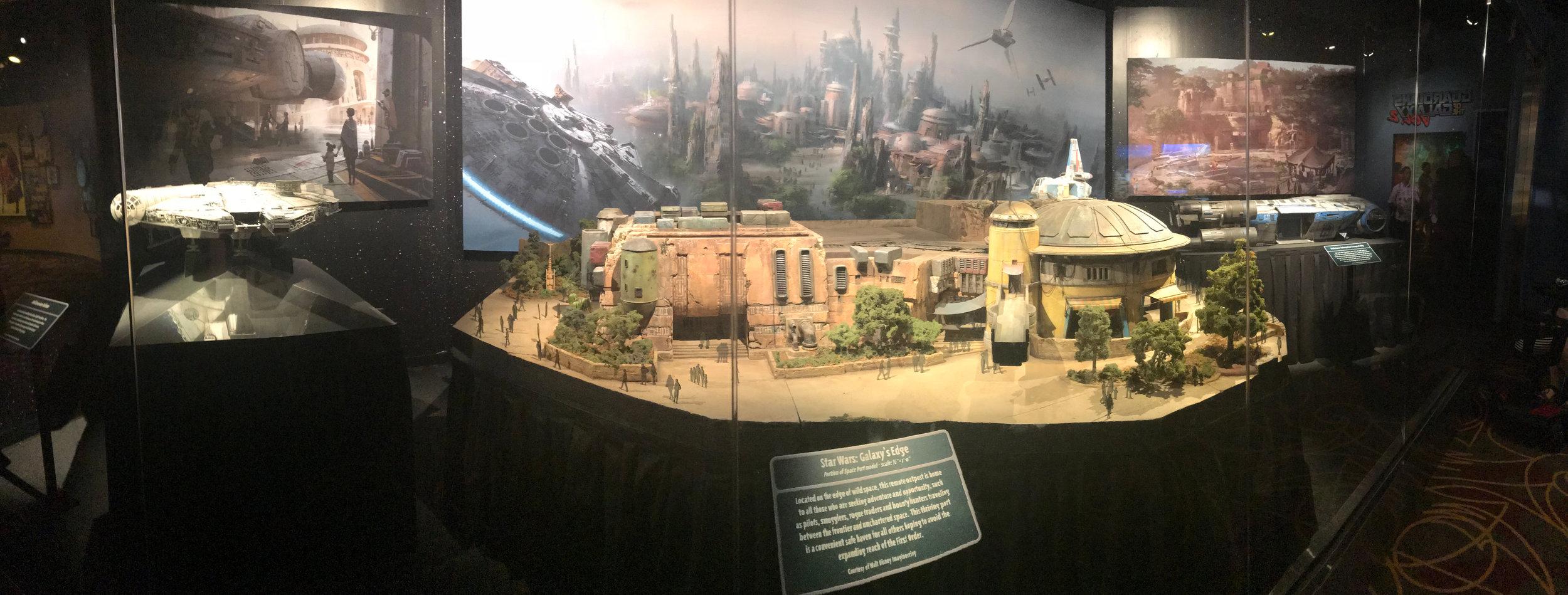 Model of Star Wars: Galaxy's Edge on display at Walt Disney Presents in Disney Hollywood Studios.