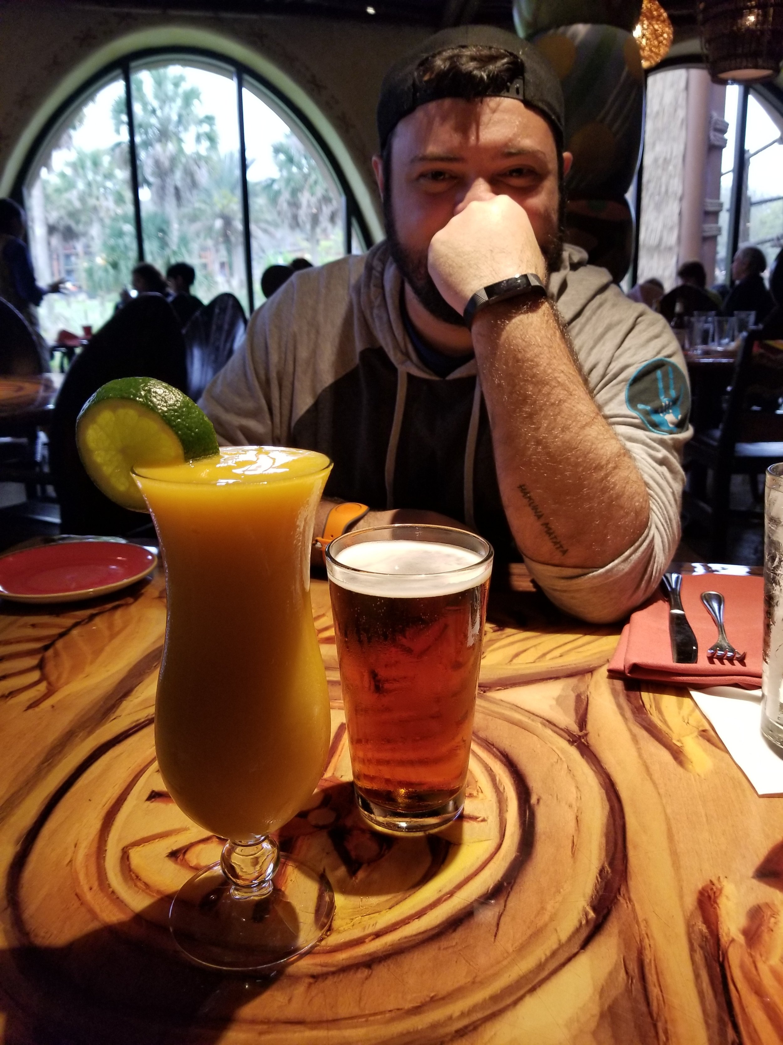 Tori got a Margarita & Matt ordered beer. Fortunately Tori held off from diving into the drink before taking a photo!